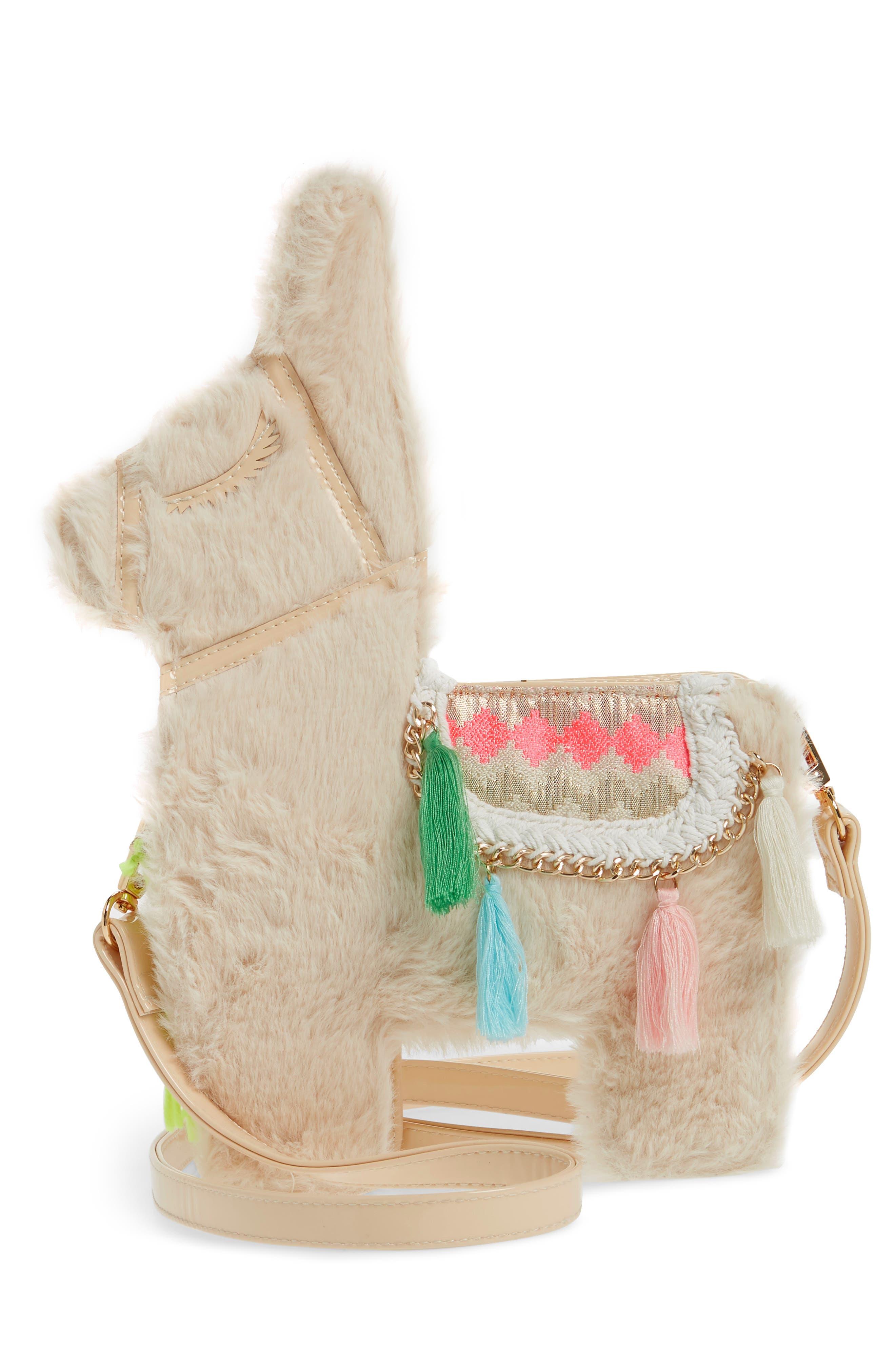 Llama Faux Fur Crossbody Bag,                             Alternate thumbnail 2, color,