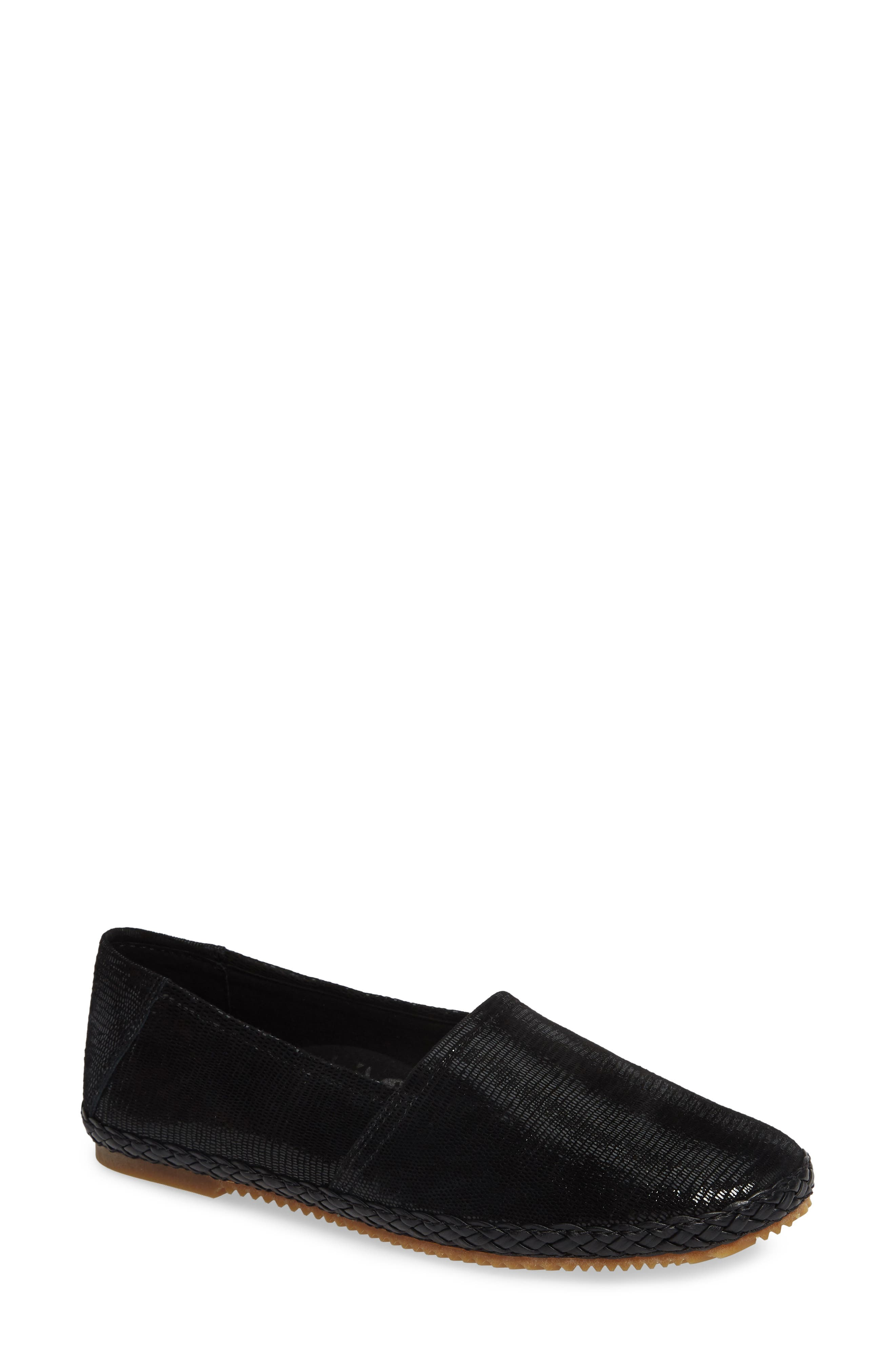 AETREX Kylie Flat, Main, color, BLACK SNAKE LEATHER