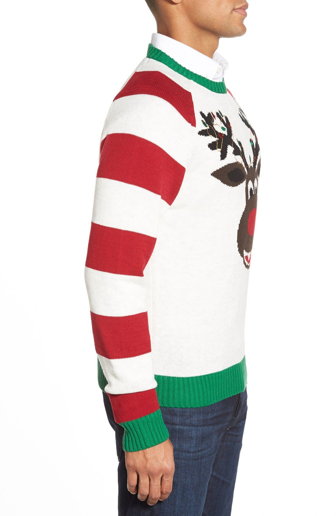 'Reindeer Stripe' Holiday Crewneck Sweater,                             Alternate thumbnail 5, color,                             100