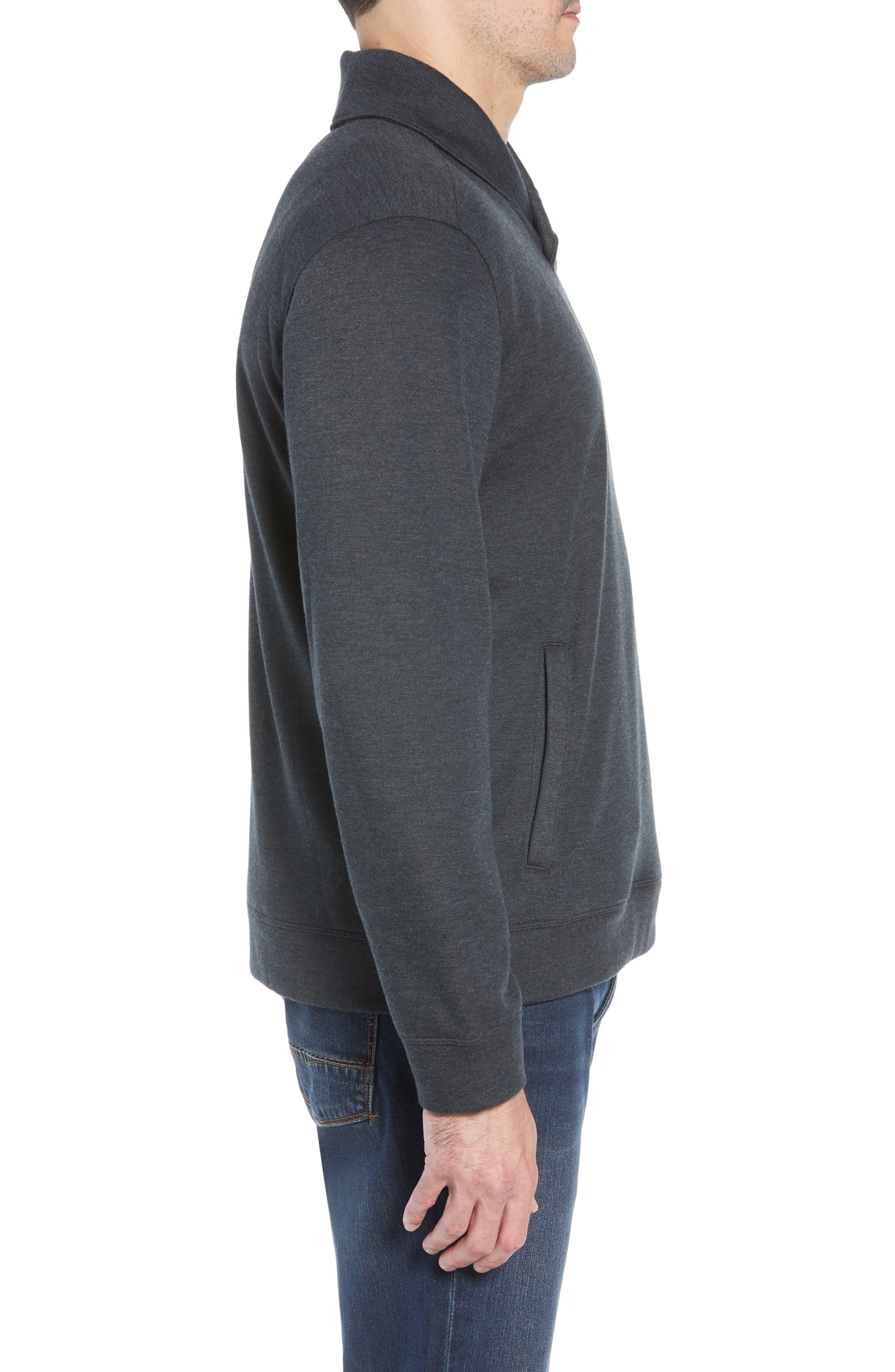Sandbar Shawl Collar Regular Fit Pullover,                             Alternate thumbnail 3, color,                             COAL