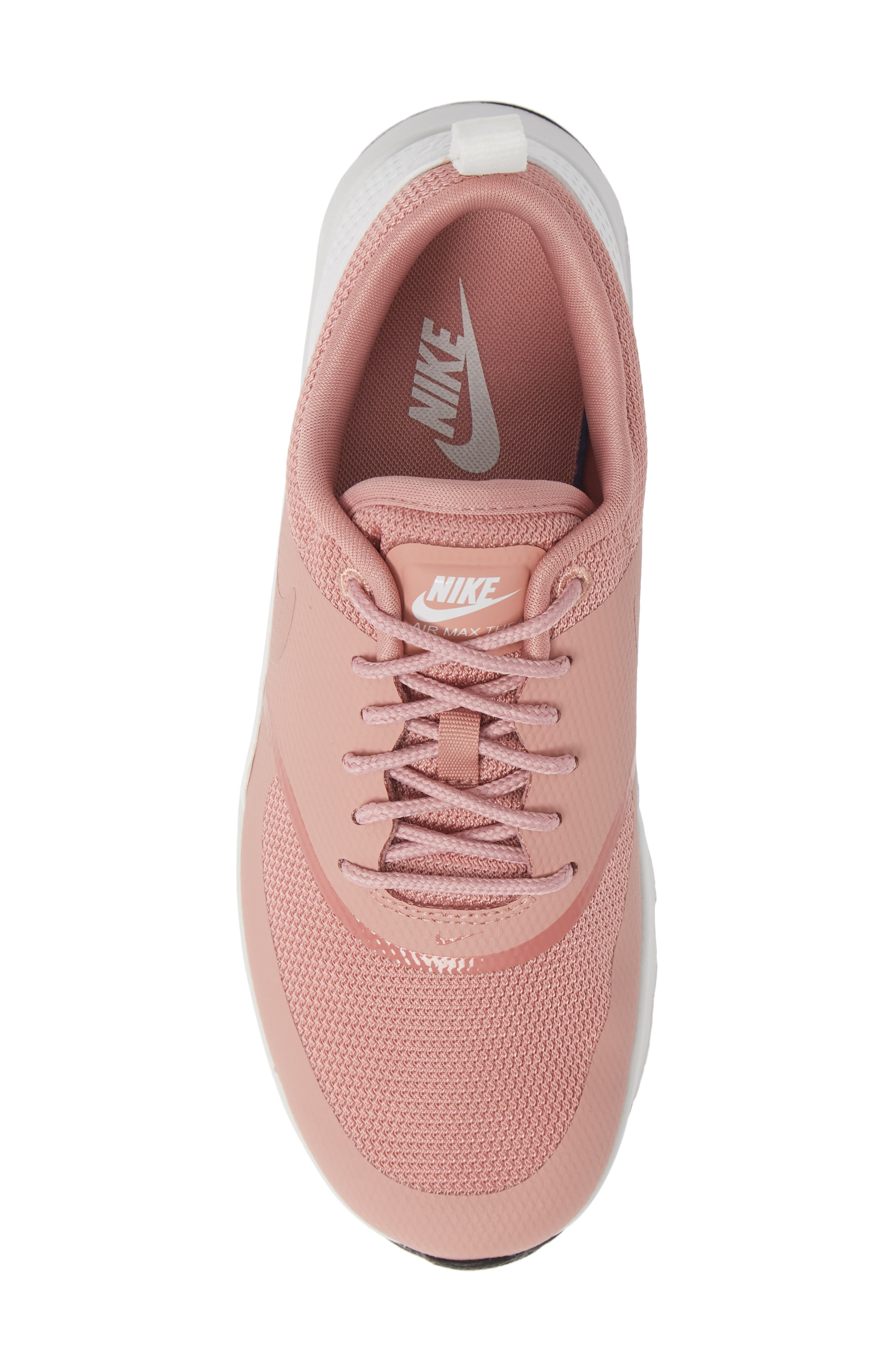 Air Max Thea Sneaker,                             Alternate thumbnail 5, color,                             RUST PINK/ WHITE/ BLACK