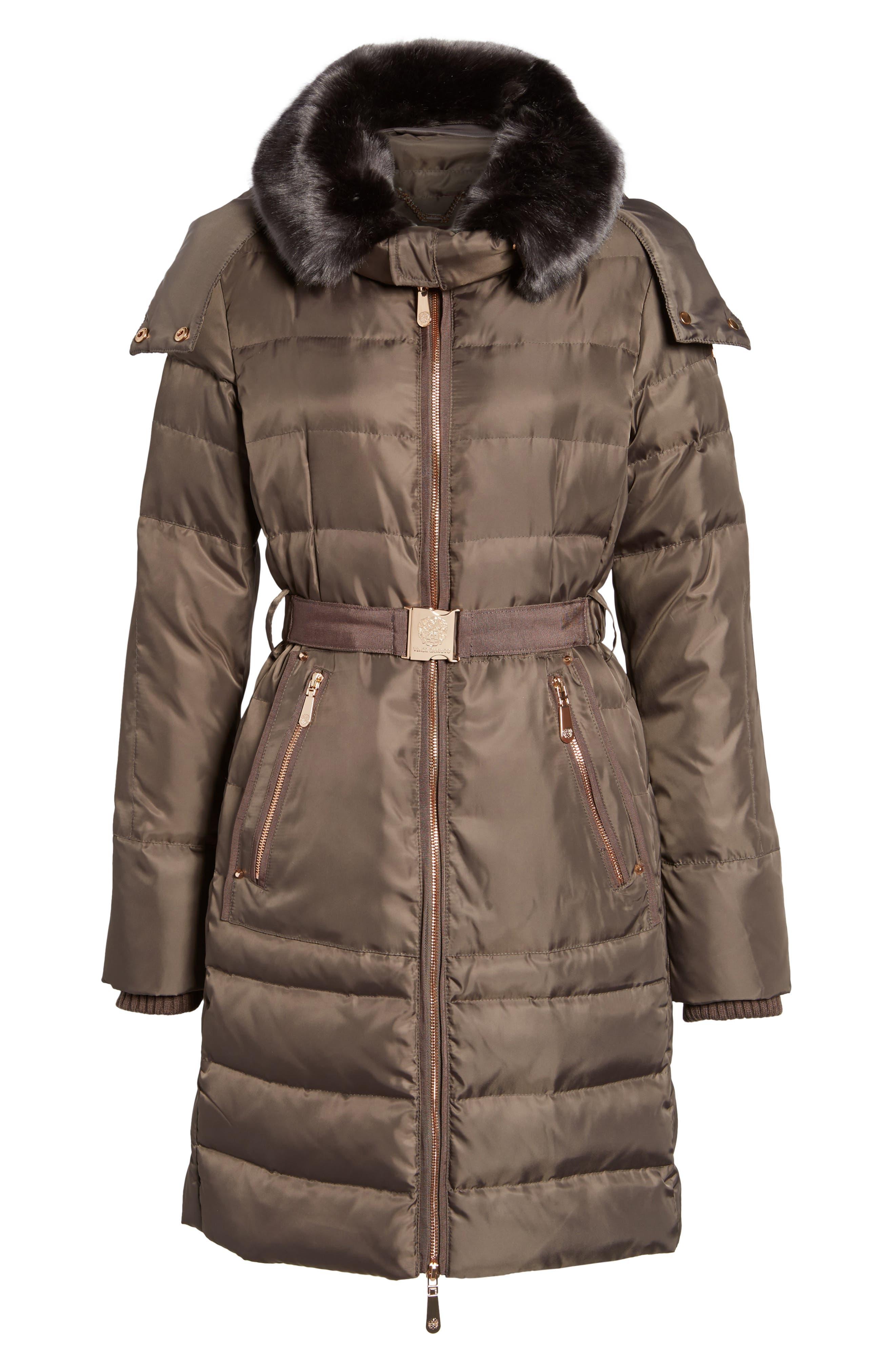 Belted Coat with Detachable Faux Fur,                             Alternate thumbnail 10, color,