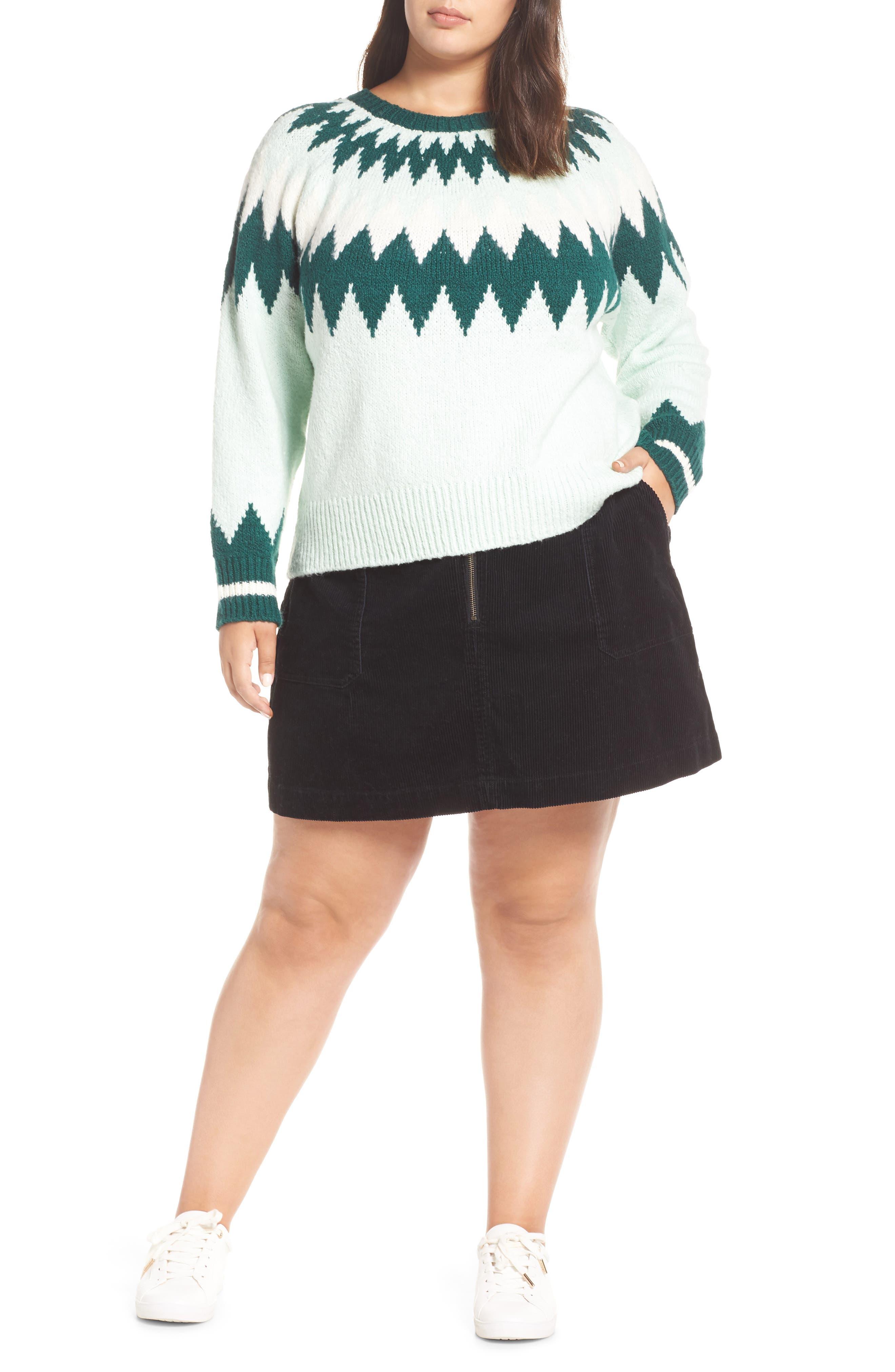 Cozy Ski Sweater,                         Main,                         color, GREEN PLACID FAIRISLE
