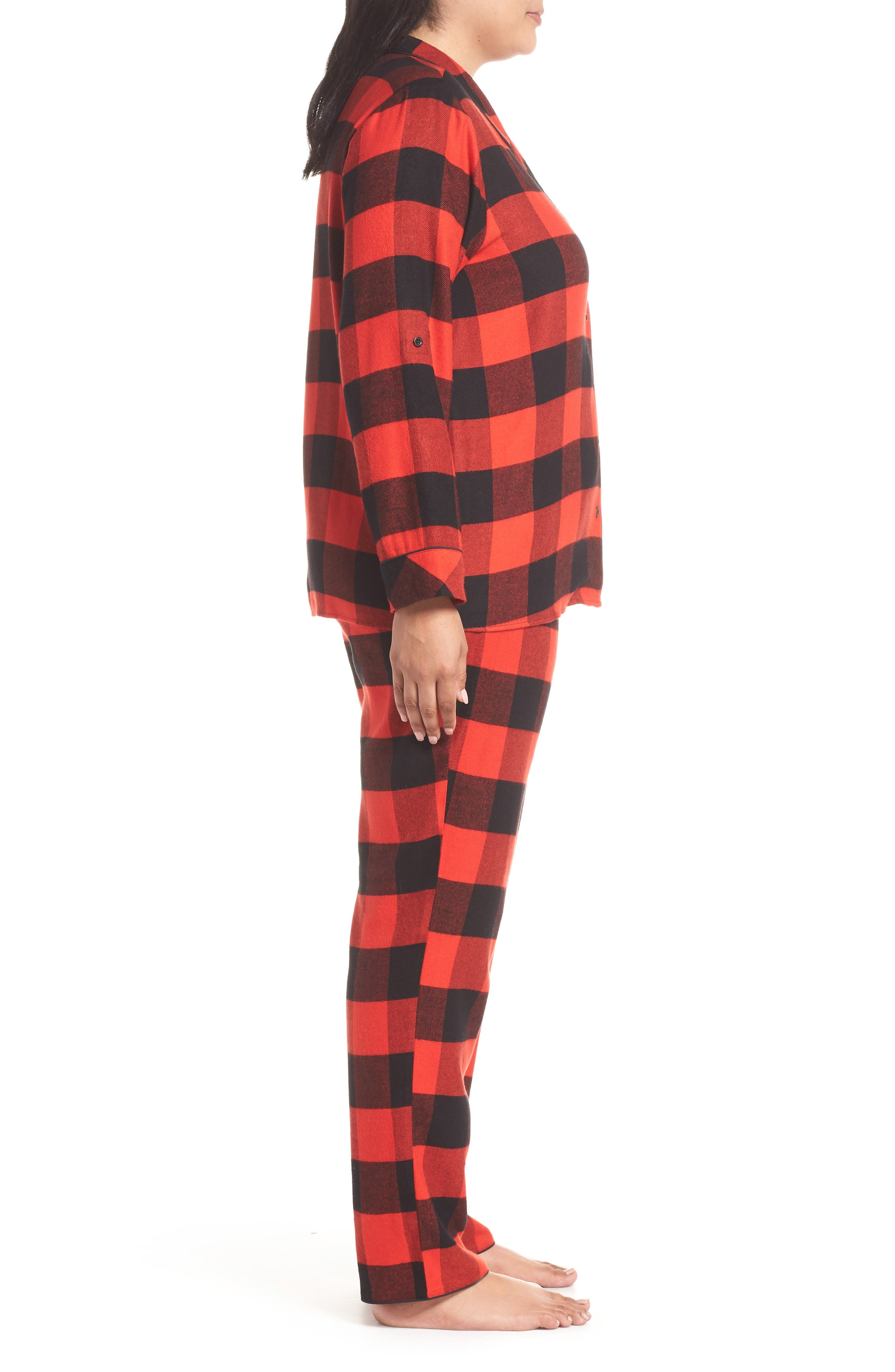 Starlight Plaid Flannel Pajamas,                             Alternate thumbnail 3, color,                             RED BLOOM LARGE BUFFALO CHECK