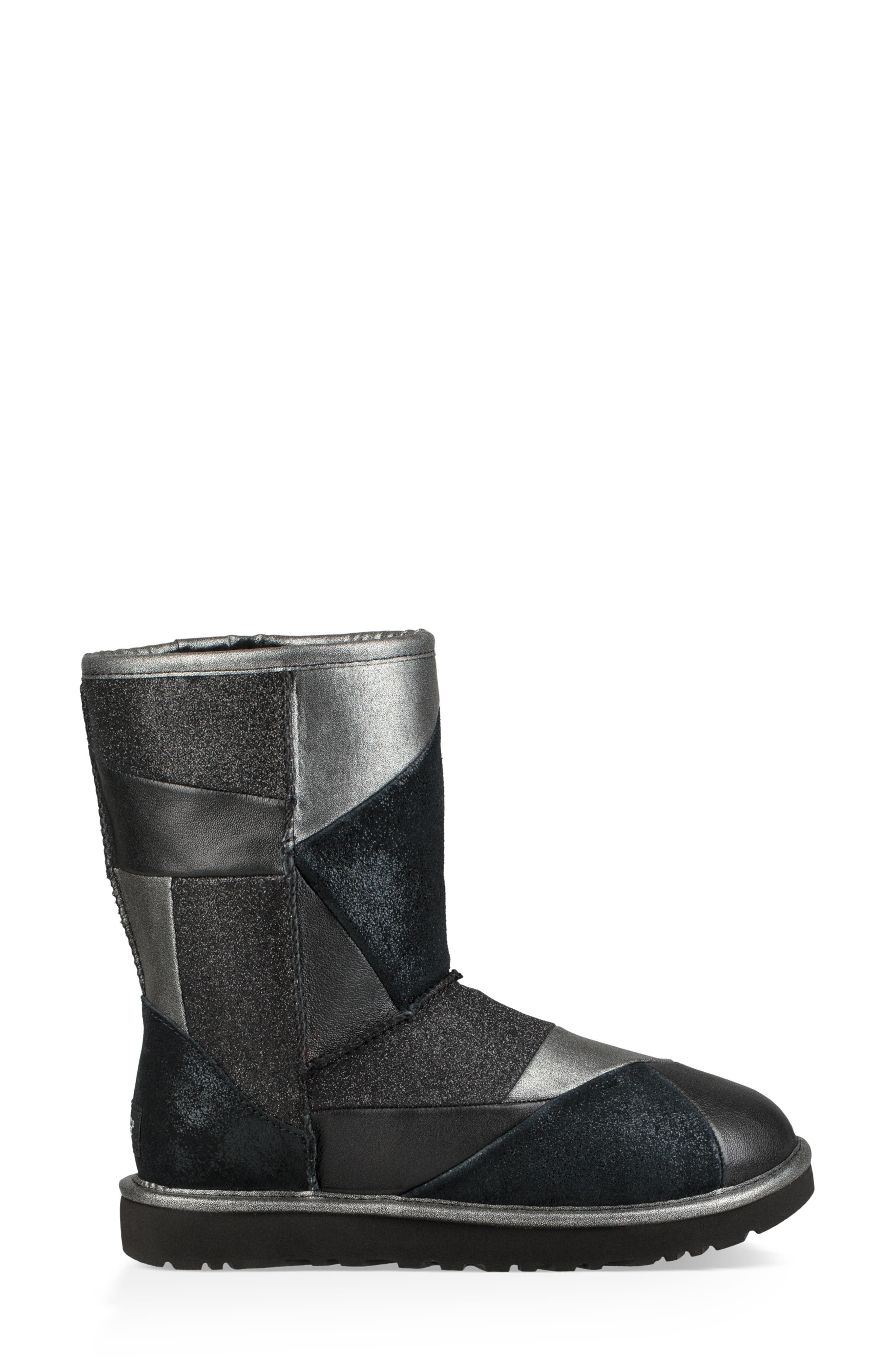 Classic Glitter Patchwork Bootie,                             Alternate thumbnail 3, color,                             001