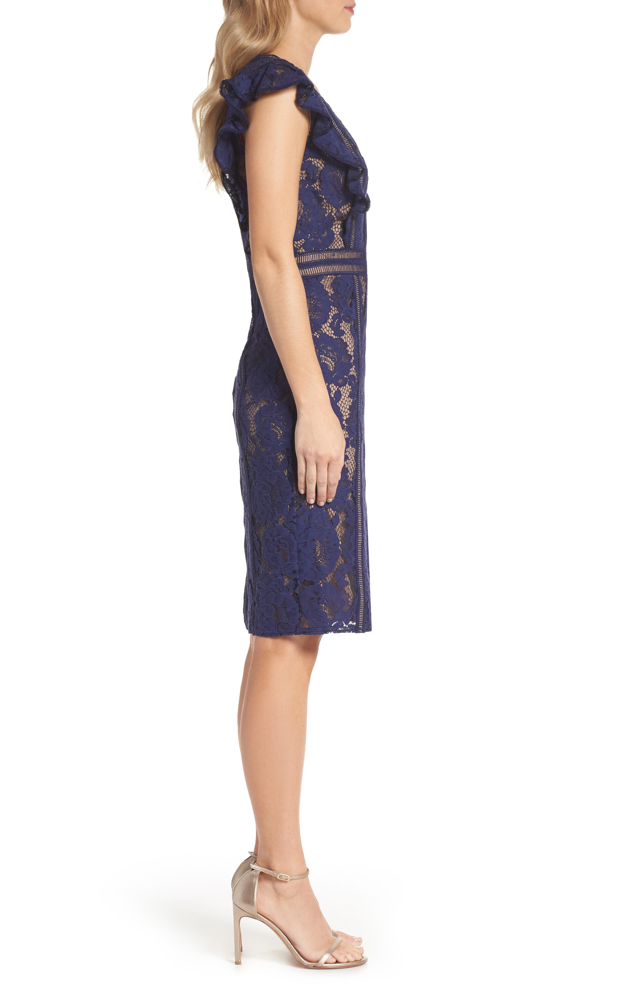 Lace Sheath Dress,                             Alternate thumbnail 3, color,                             434