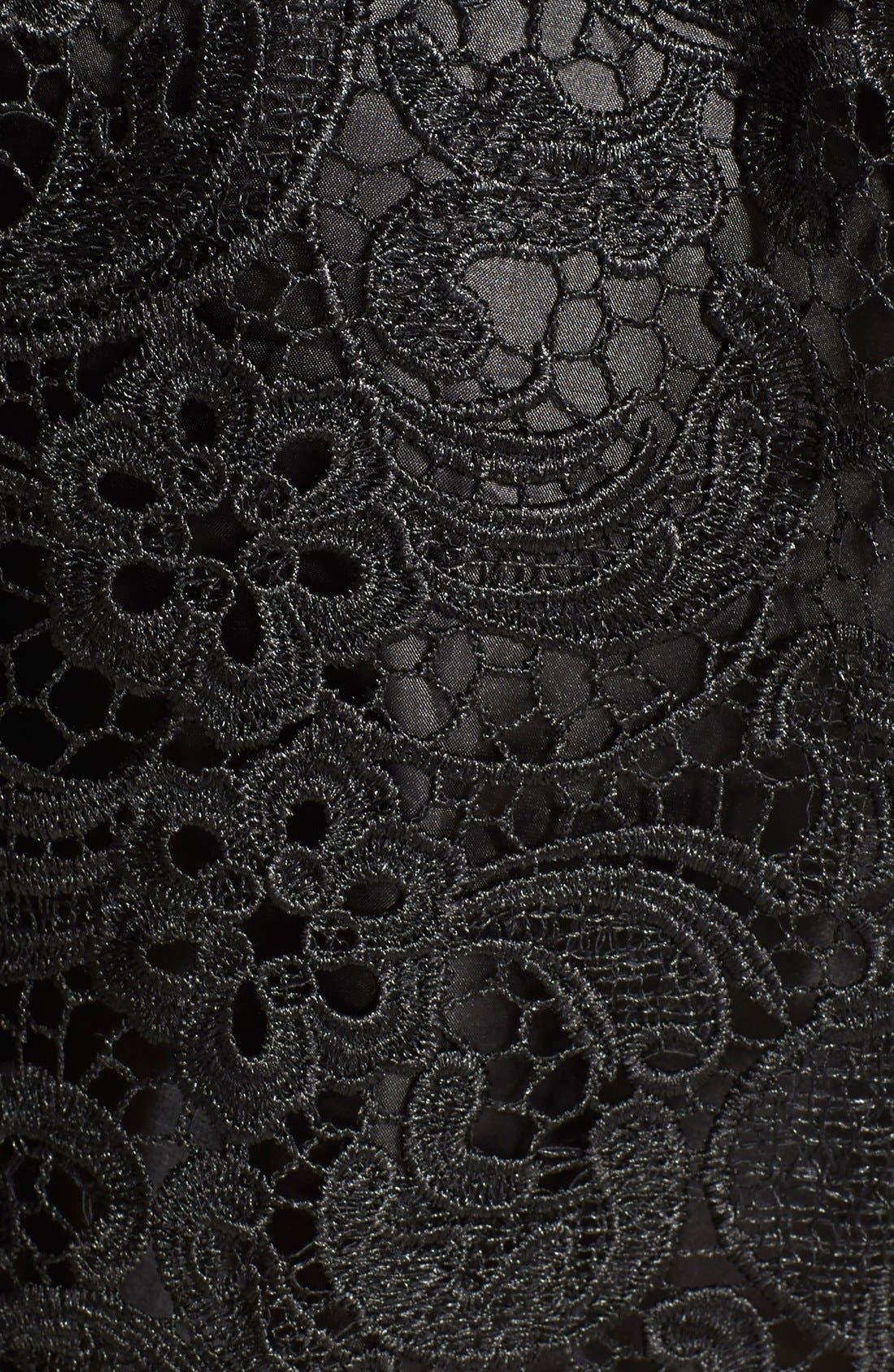 ASTR Faux Leather Trim Lace Dress,                             Alternate thumbnail 3, color,                             001