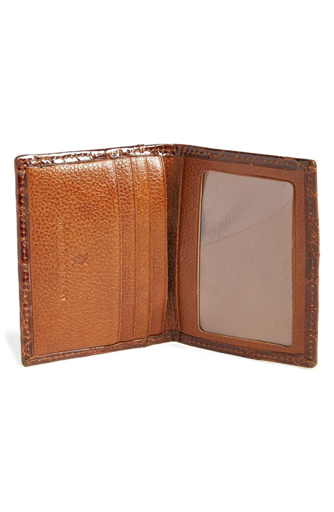 'Joseph' Genuine American Alligator Leather ID Wallet,                             Alternate thumbnail 3, color,                             COGNAC