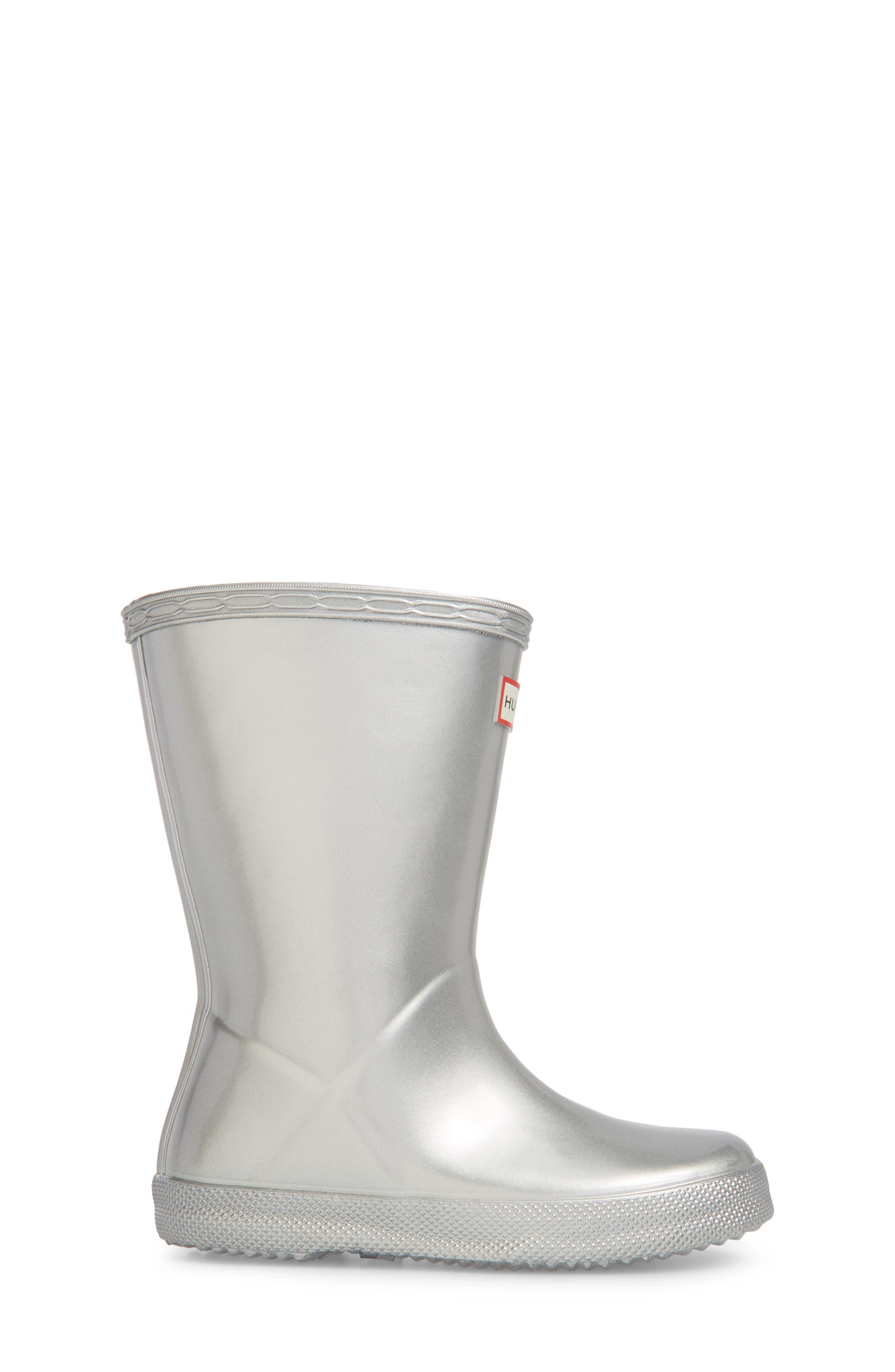 HUNTER,                             First Classic Metallic Waterproof Rain Boot,                             Alternate thumbnail 3, color,                             SILVER