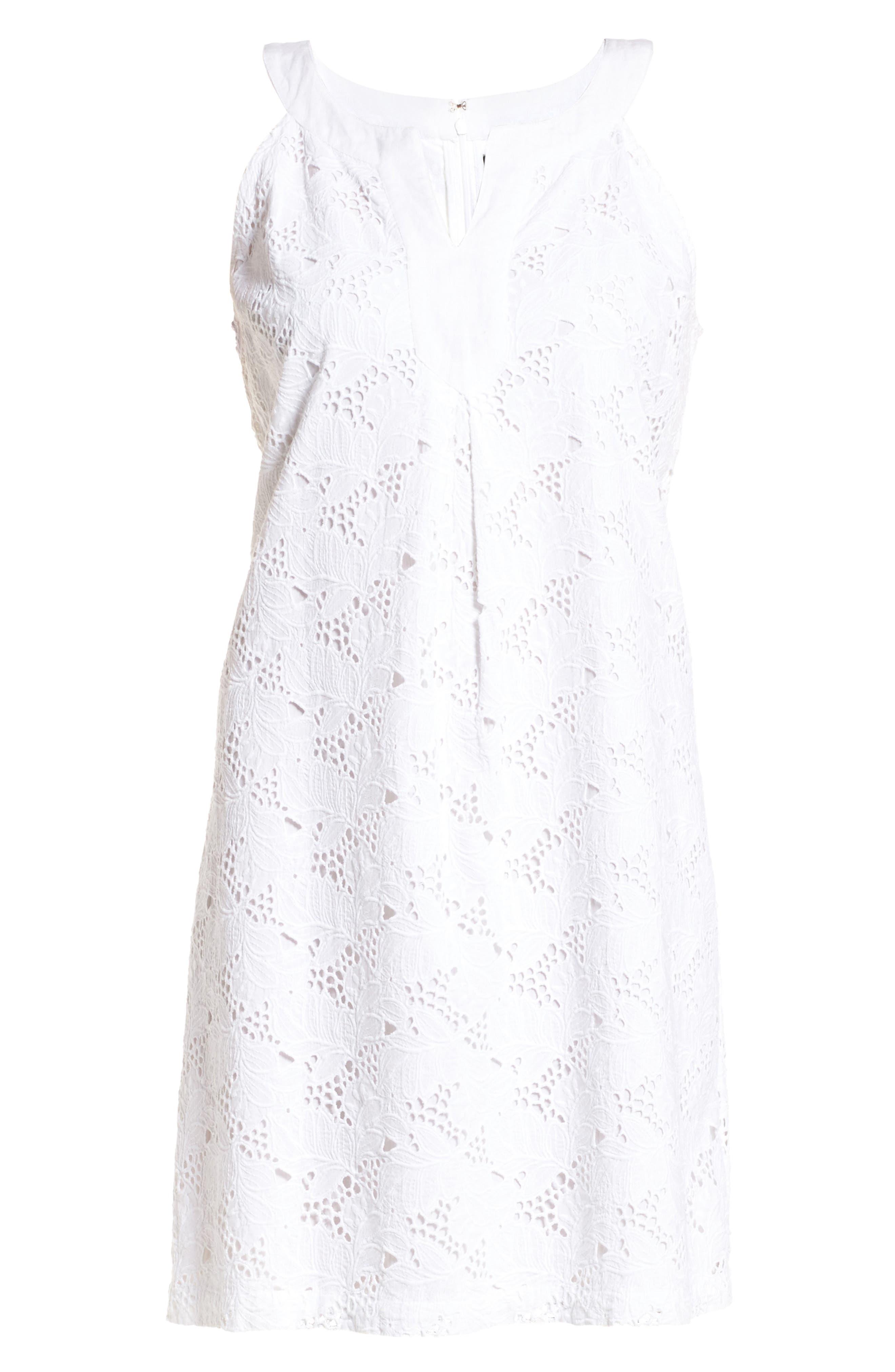 Eyelet Cotton Shift Dress,                             Alternate thumbnail 6, color,                             100