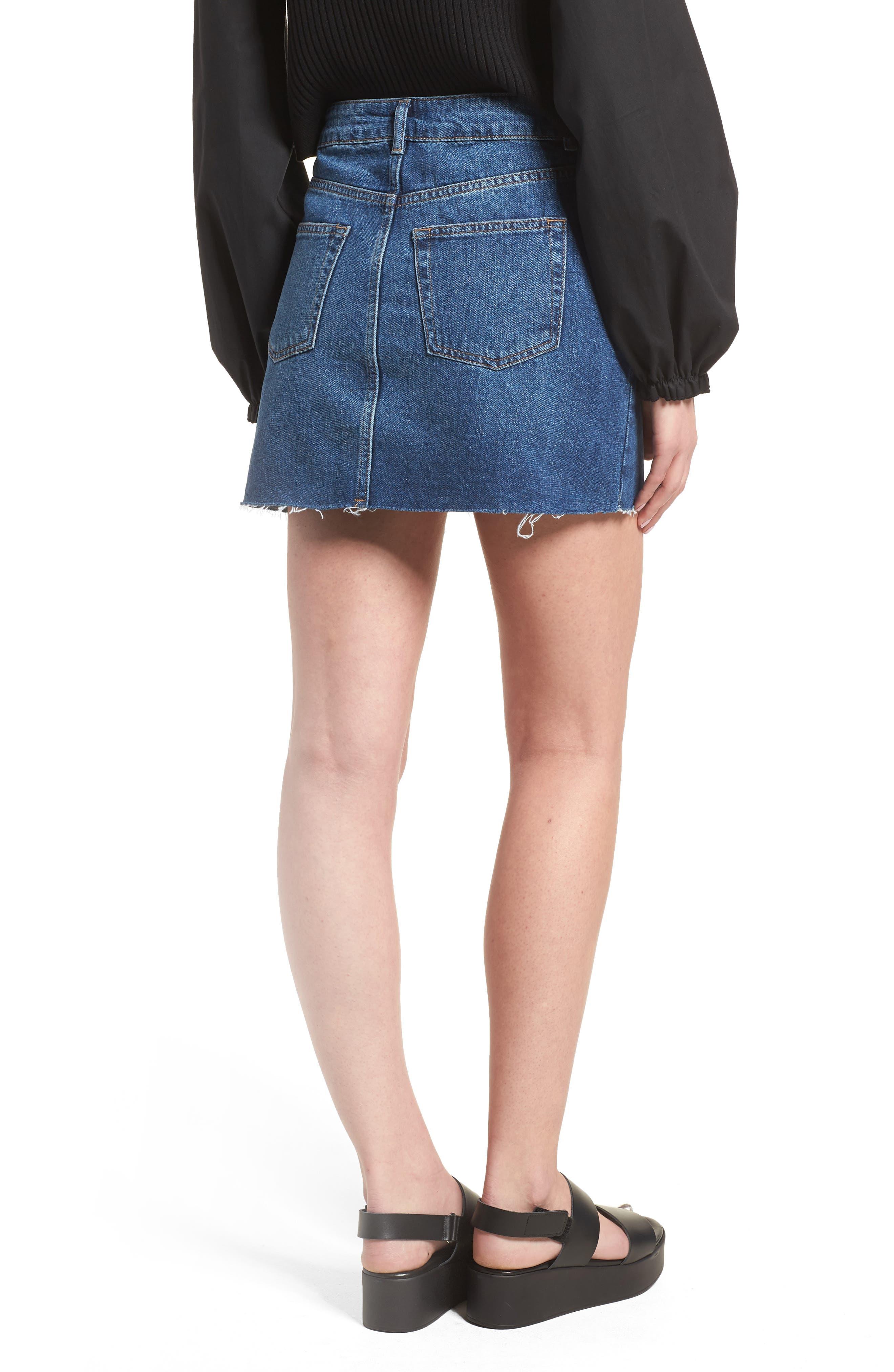 Spray Studded Denim Skirt,                             Alternate thumbnail 2, color,