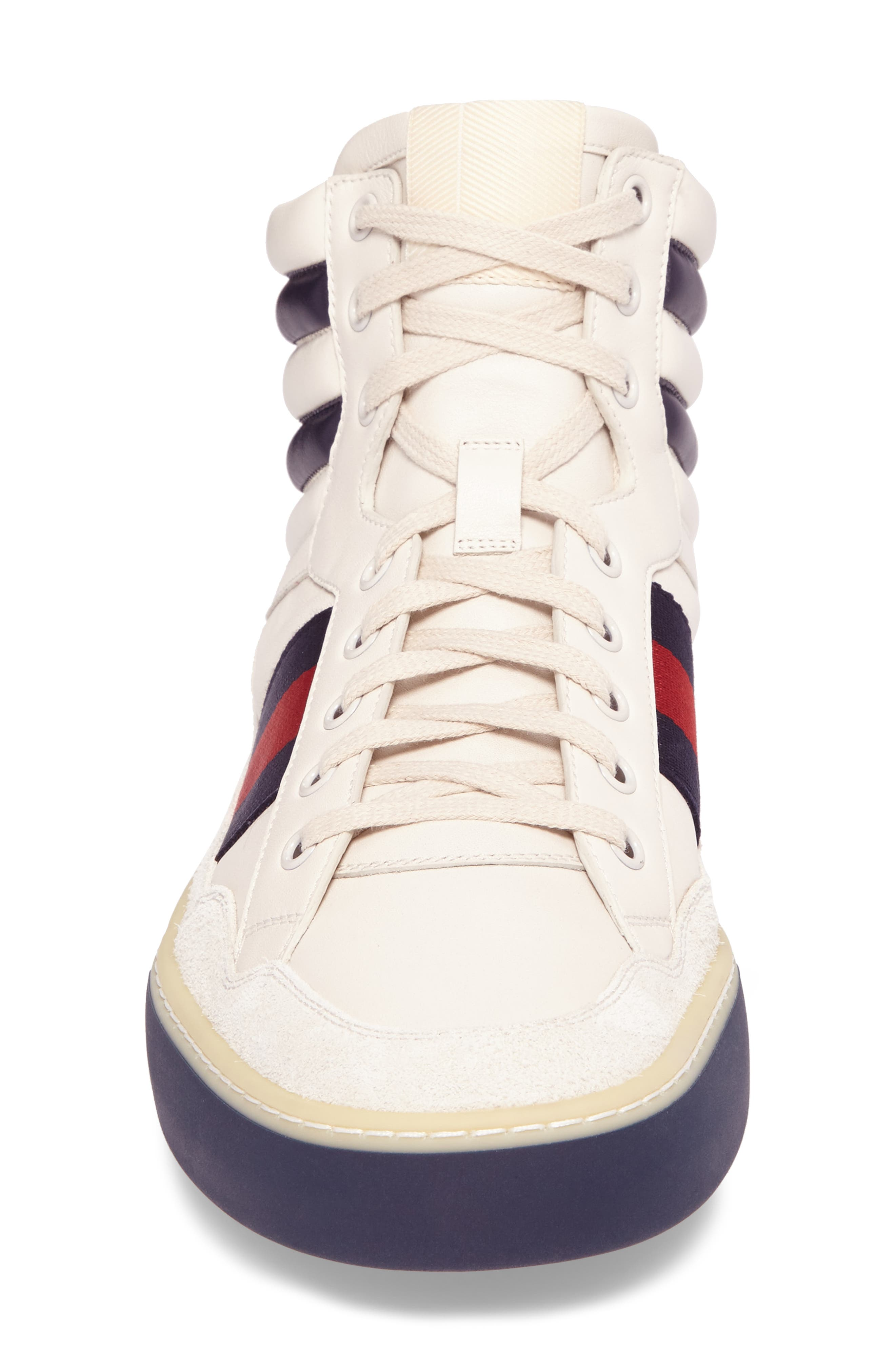 Leather High Top Sneaker,                             Alternate thumbnail 4, color,                             WHITE LEATHER/ SUEDE