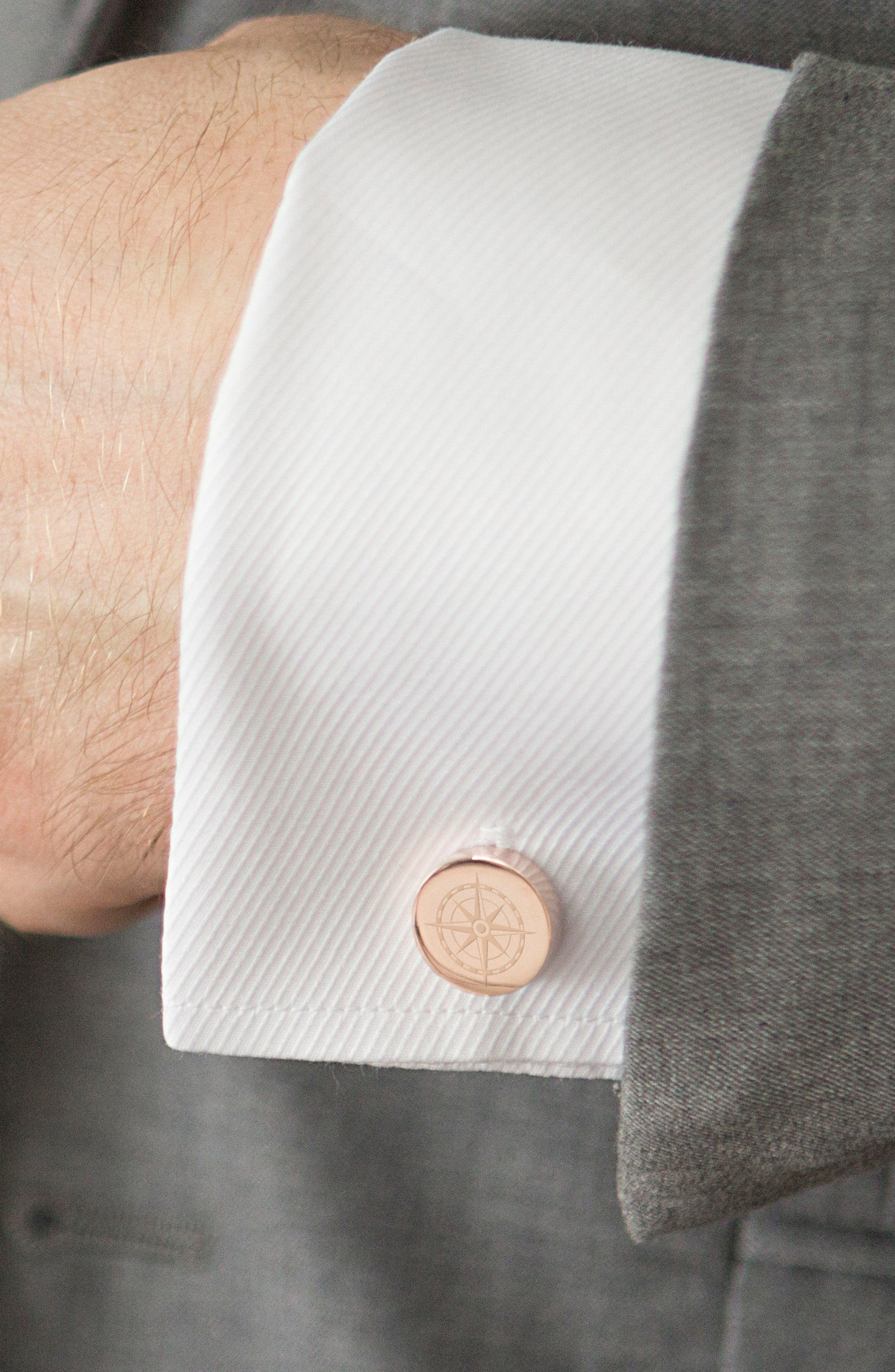 Compass Cuff Links,                             Alternate thumbnail 5, color,                             ROSE GOLD