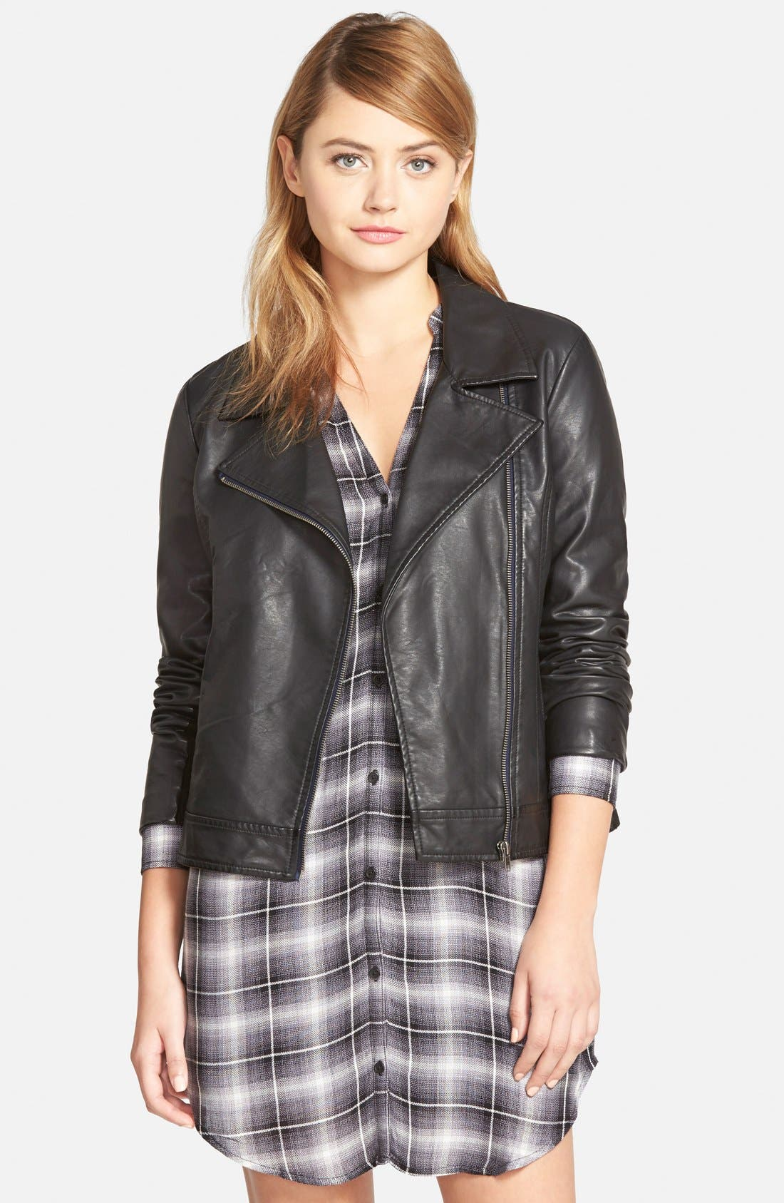 CUPCAKES AND CASHMERE 'Union' Faux Leather Biker Jacket, Main, color, 001