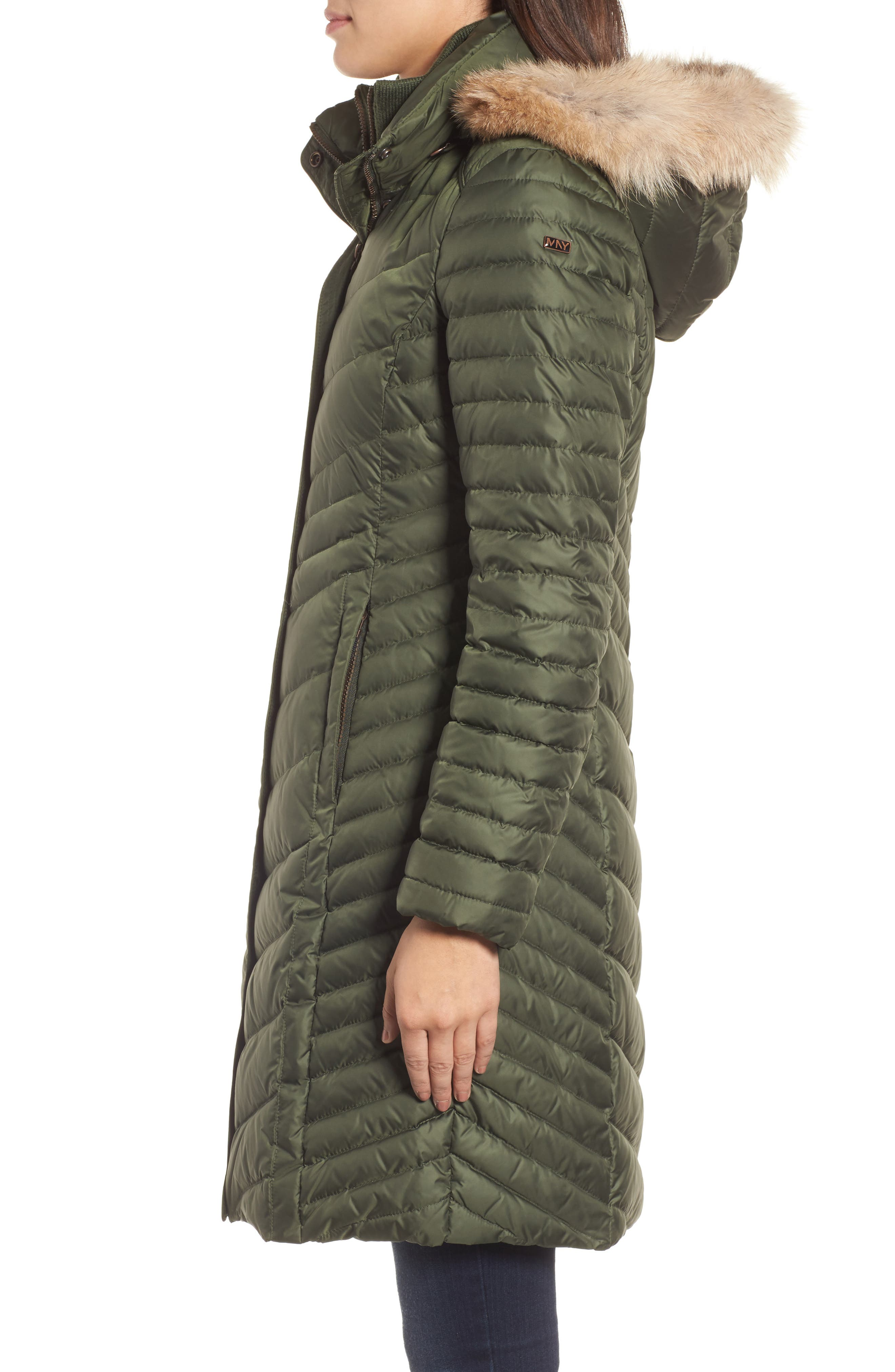Chevron Quilted Coat with Genuine Coyote Fur Trim,                             Alternate thumbnail 8, color,