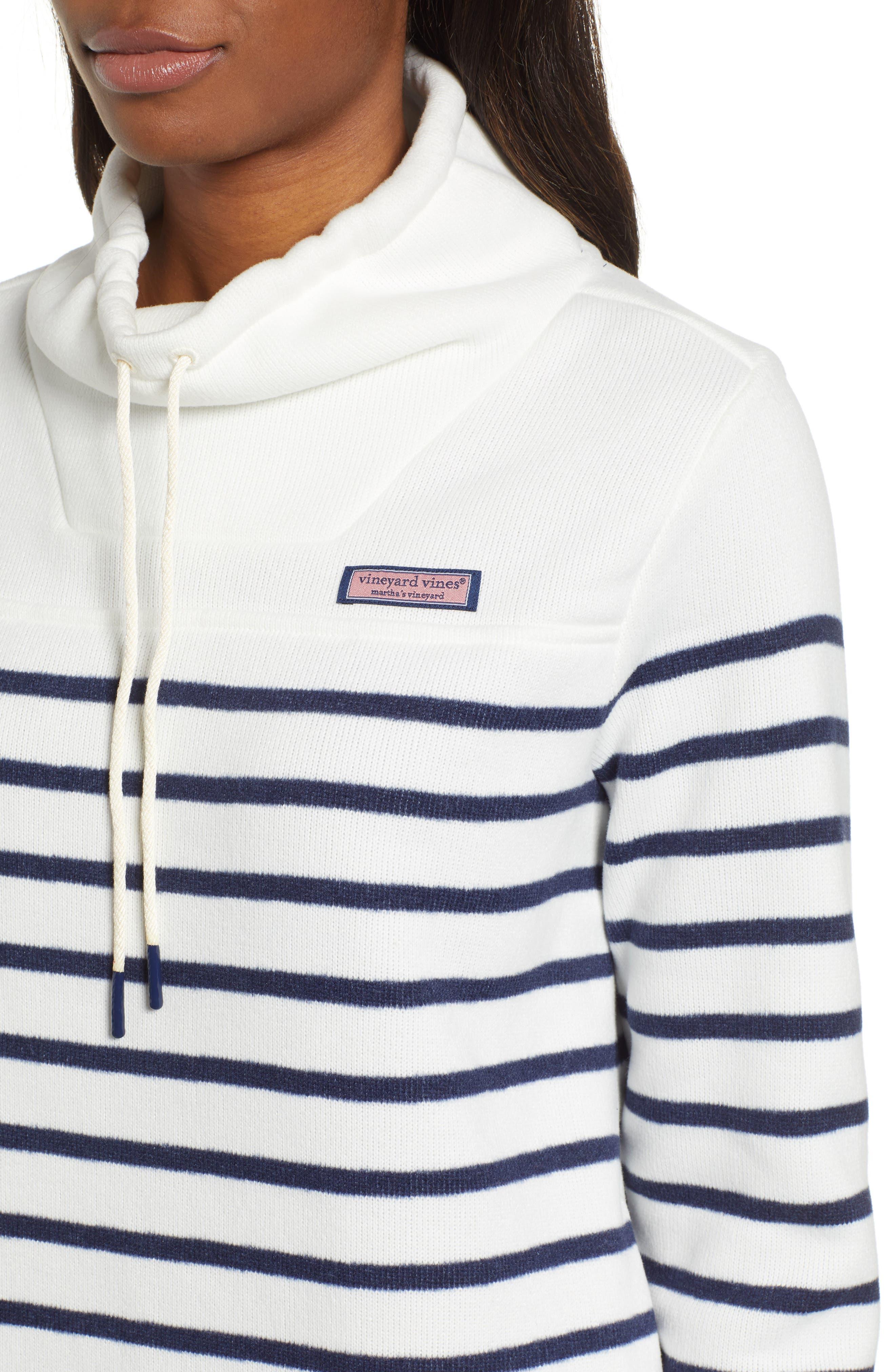 Funnel Neck Stripe Sweater,                             Alternate thumbnail 4, color,                             111