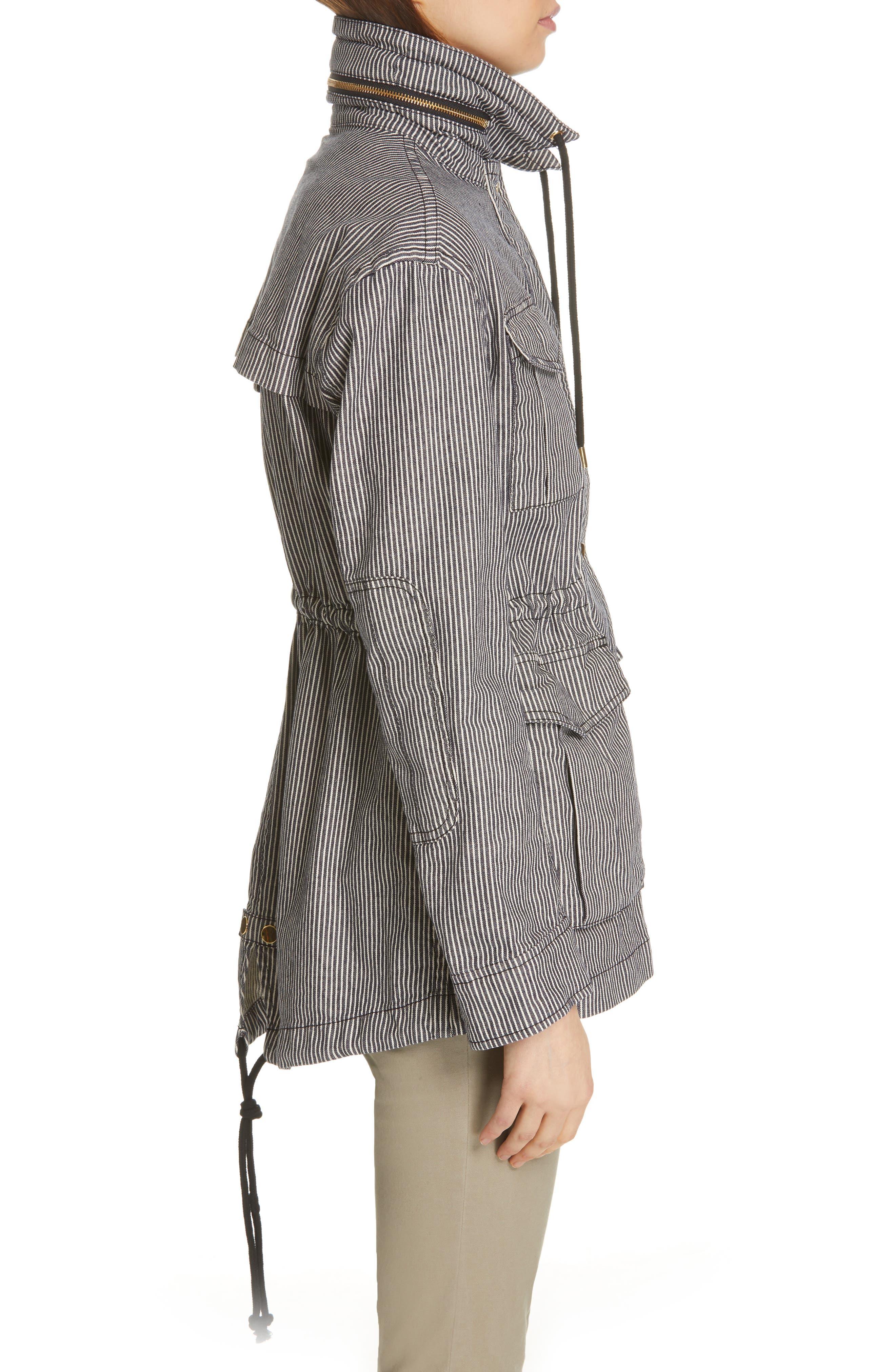 Railroad Stripe Field Jacket,                             Alternate thumbnail 3, color,                             INDIGO/ WHITE STRIPE