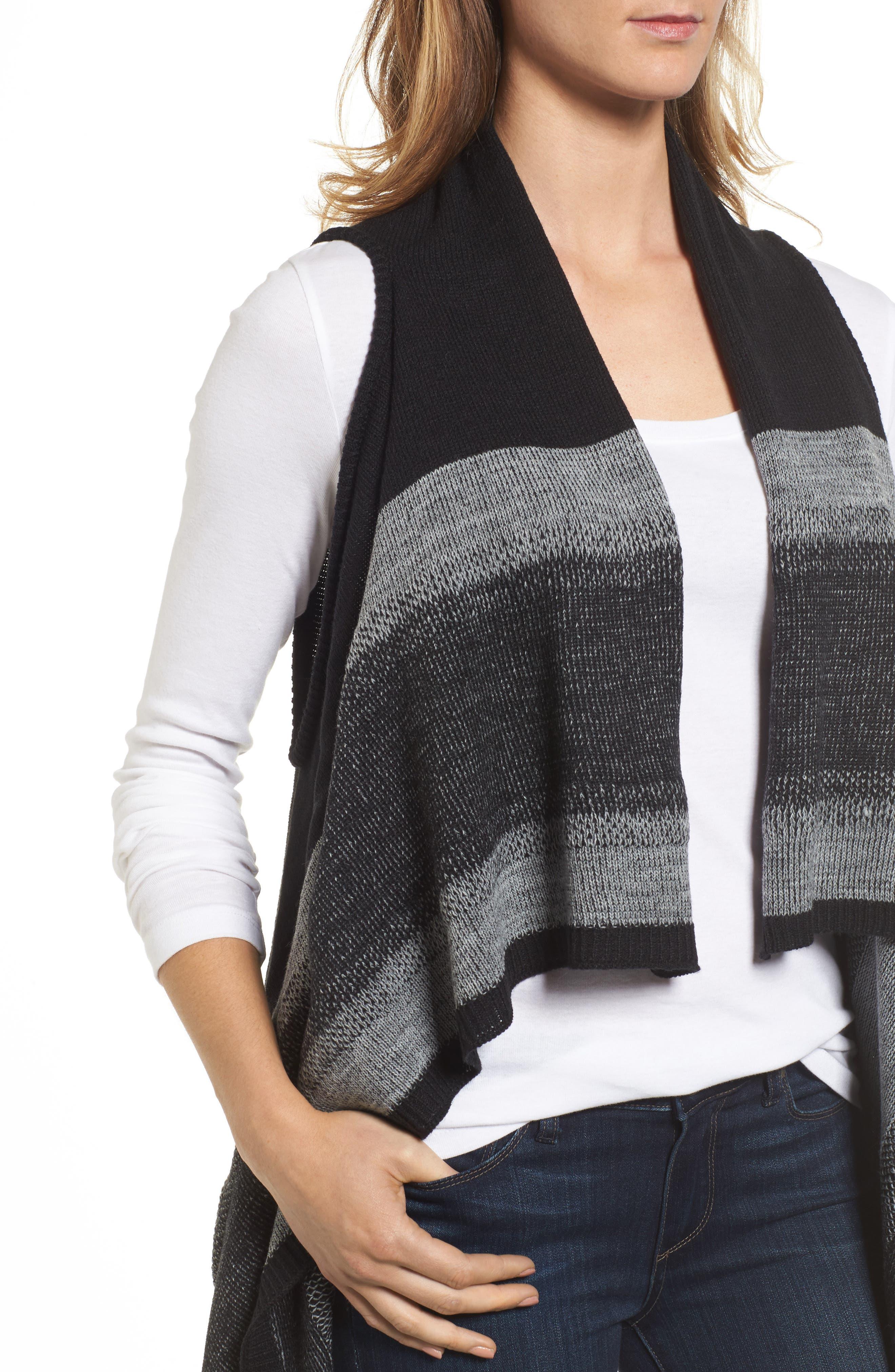 Faded Stripes Knit Vest,                             Alternate thumbnail 4, color,                             001