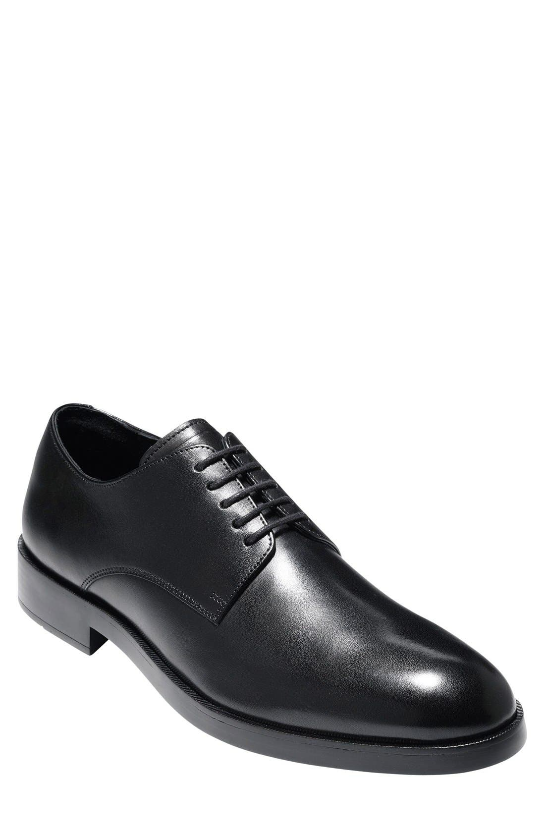 'Harrison Grand' Plain Toe Derby,                             Main thumbnail 1, color,                             BLACK