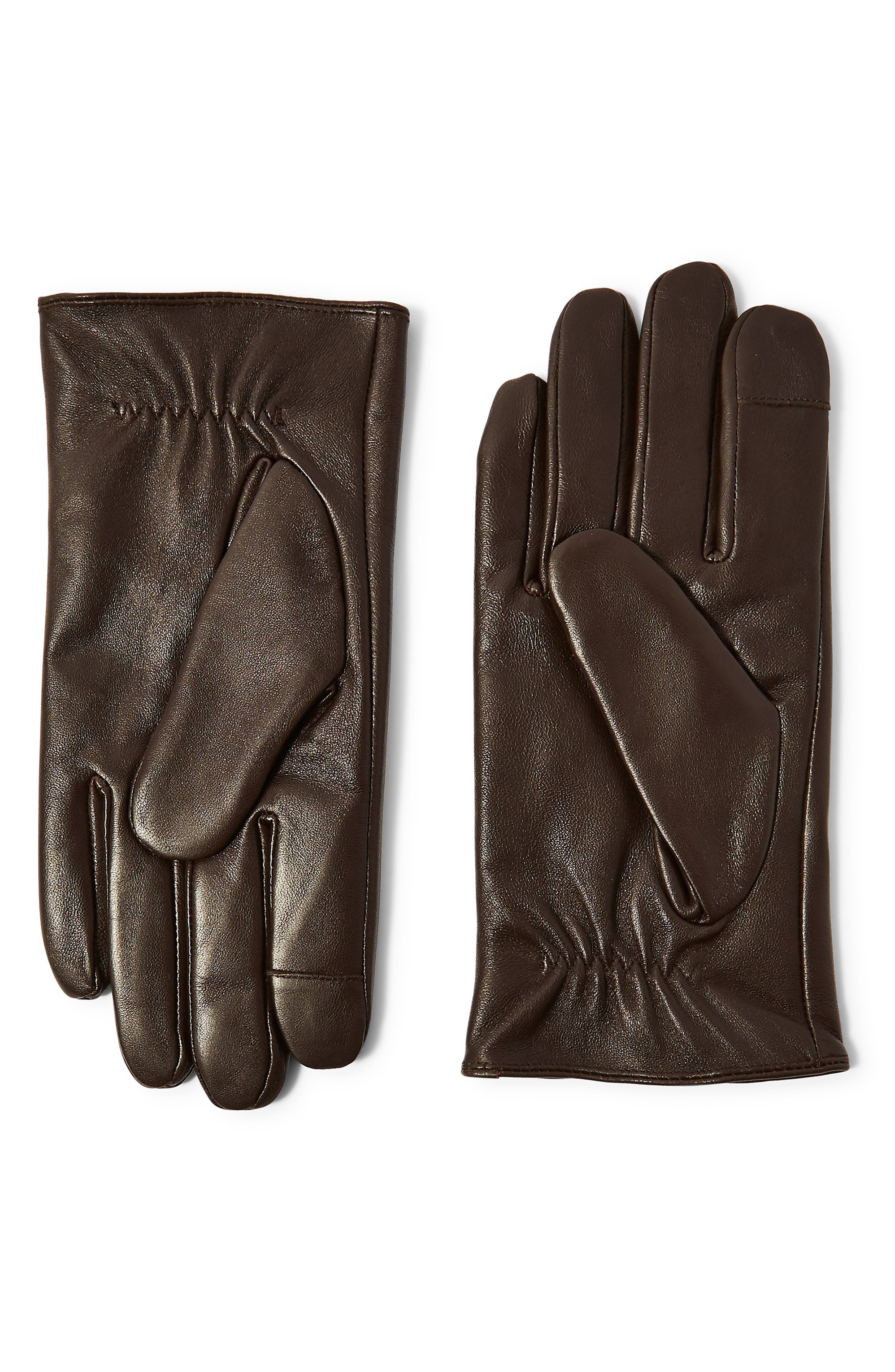 Topman Leather Gloves, Brown