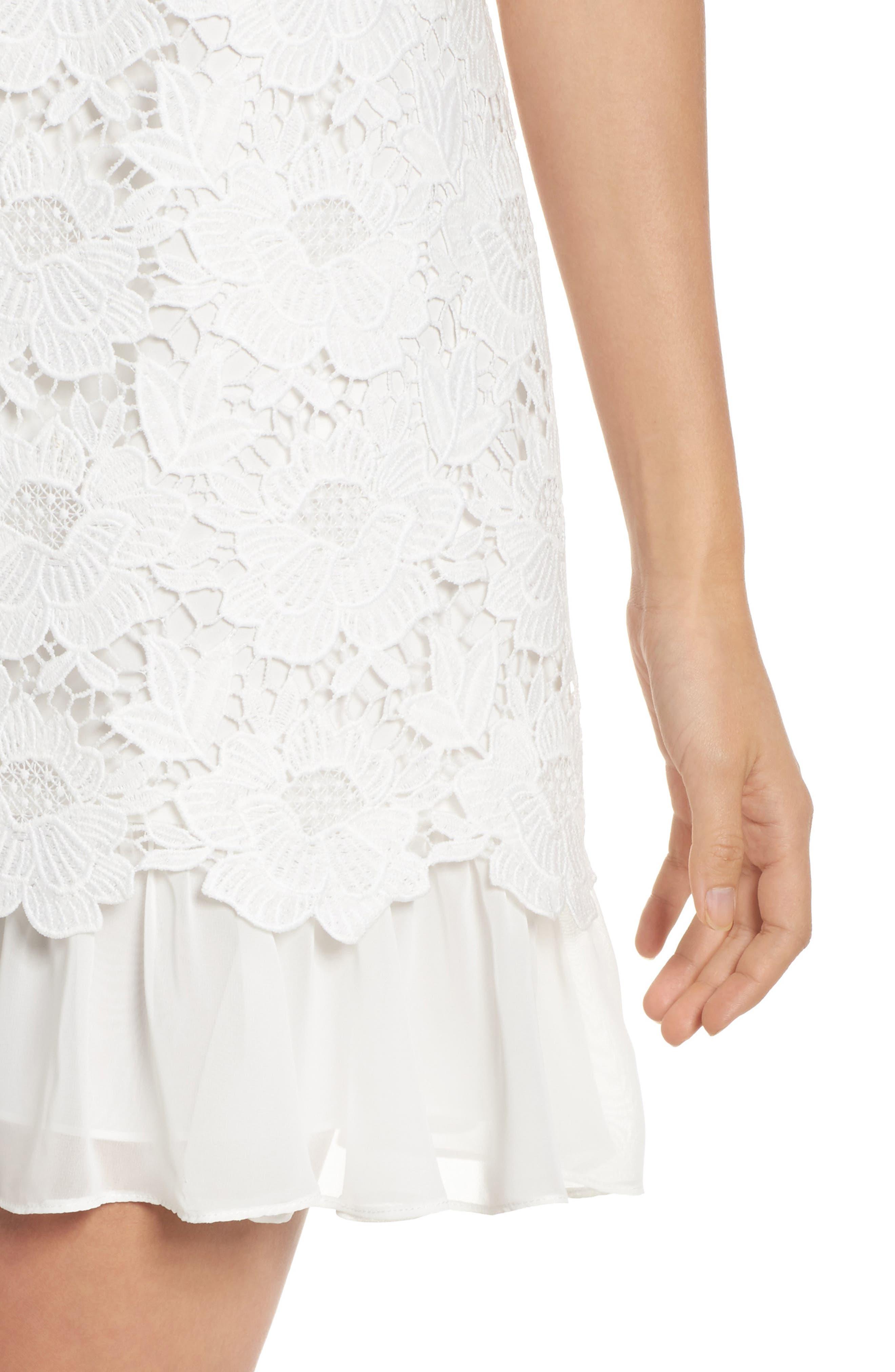 Lace Ruffle Hem Sheath Dress,                             Alternate thumbnail 8, color,