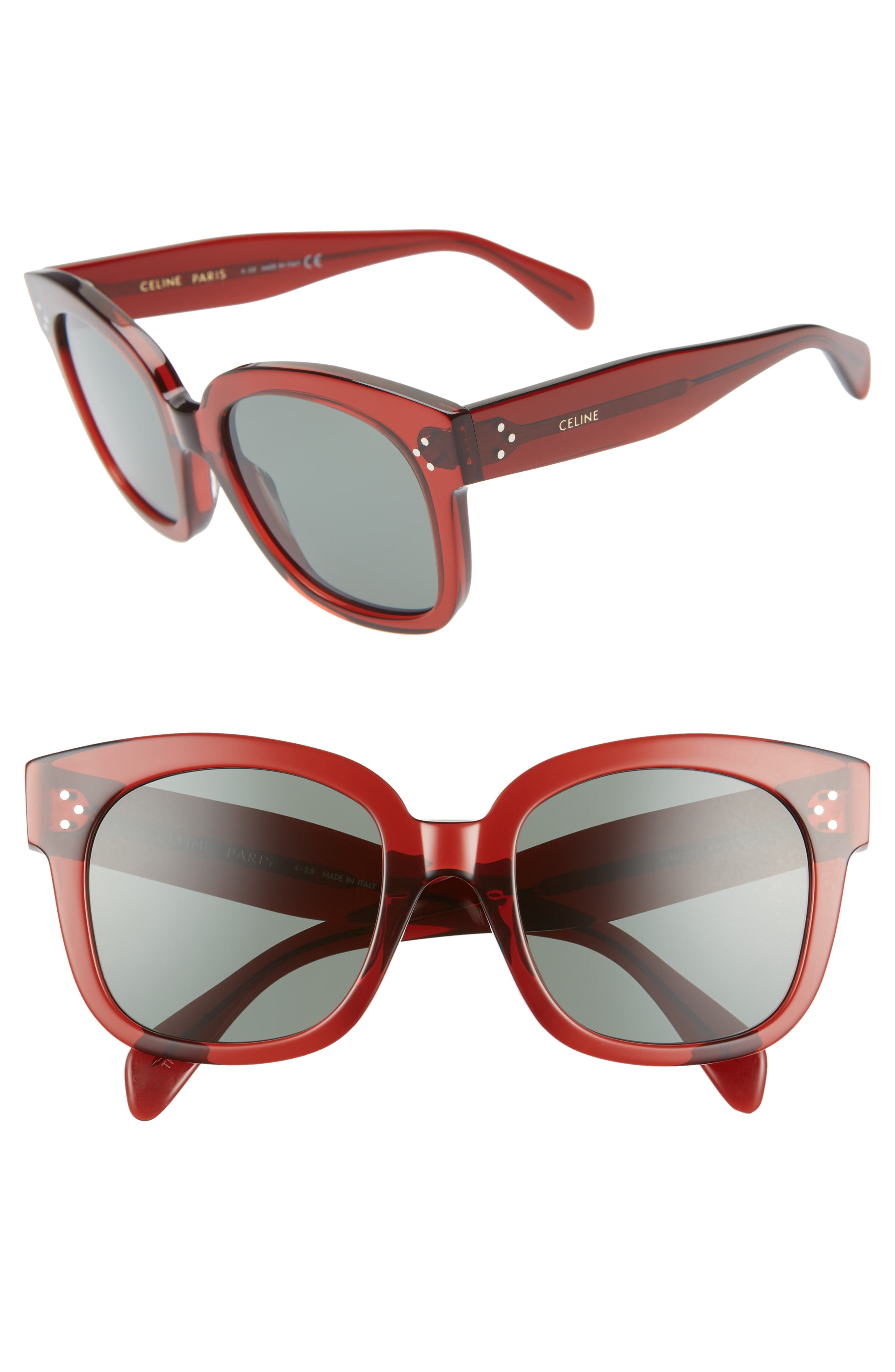 54mm Round Sunglasses,                             Main thumbnail 1, color,                             BORDEAUX/ GREEN