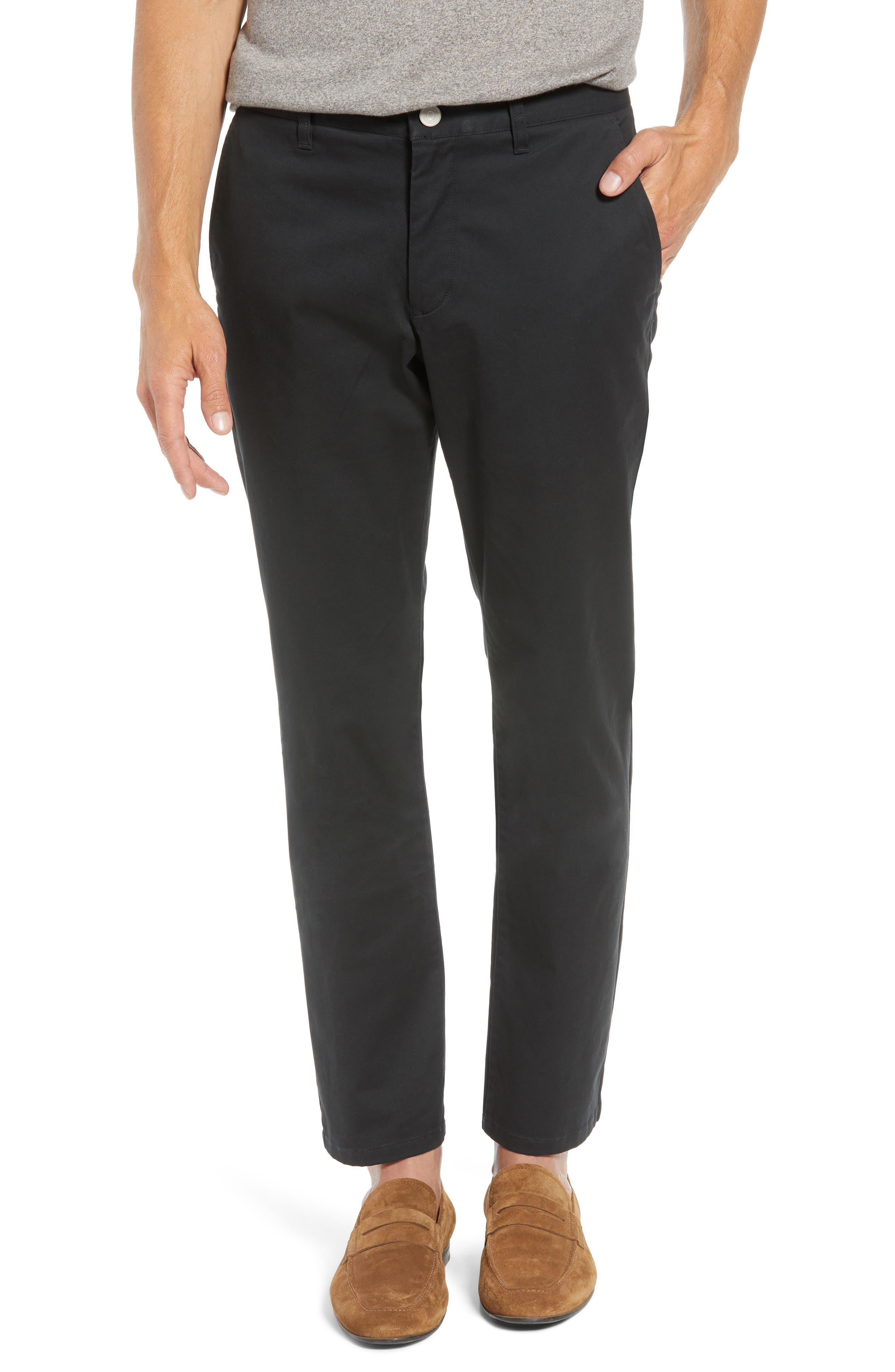 Straight Leg Stretch Washed Chinos,                         Main,                         color, JET BLACK