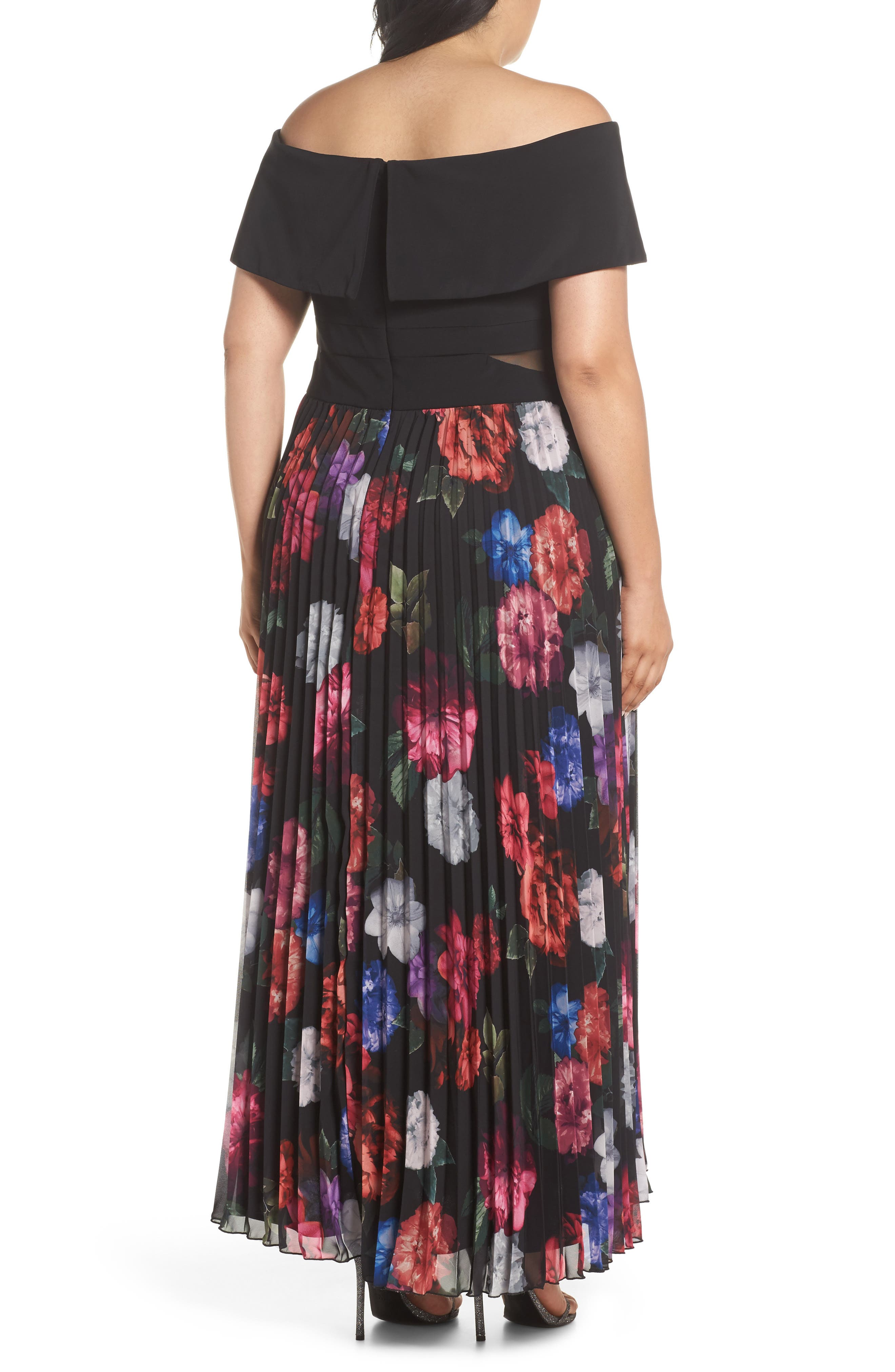 Pleated Floral Off the Shoulder Gown,                             Alternate thumbnail 2, color,                             001