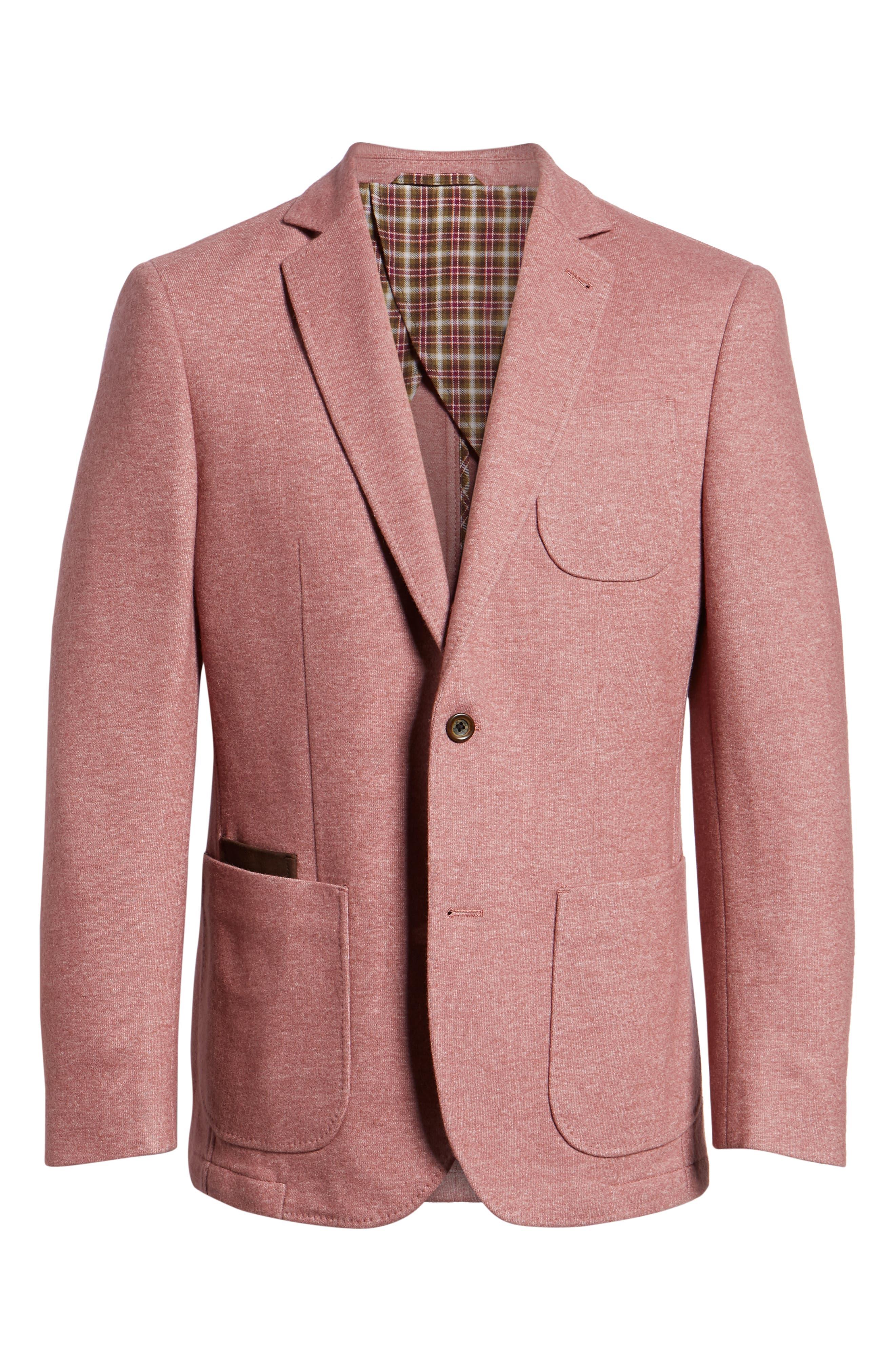 Regular Fit Knit Wool Blend Sport Coat,                             Alternate thumbnail 5, color,                             PINK