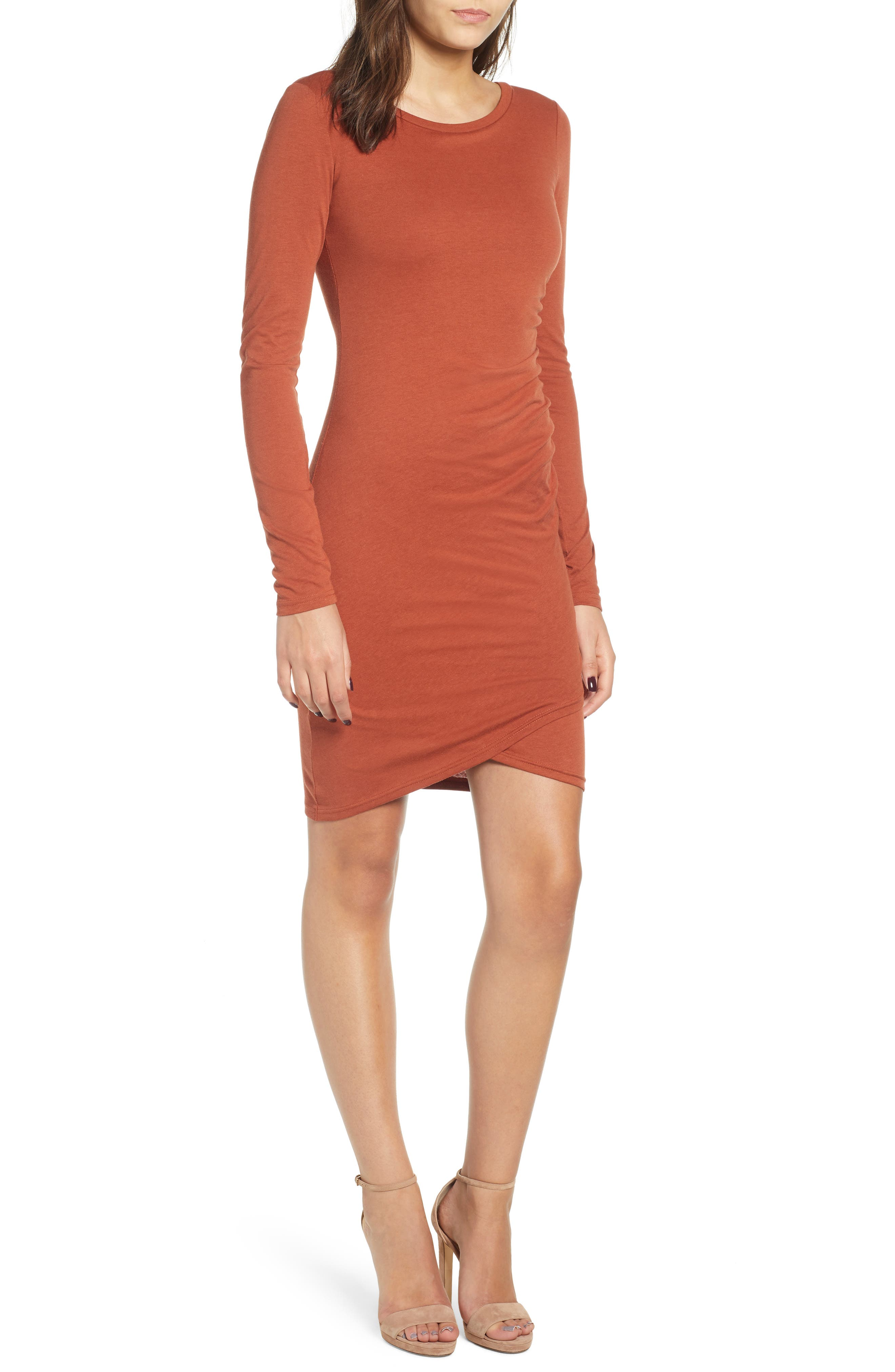 Leith Ruched Long Sleeve Dress, Brown