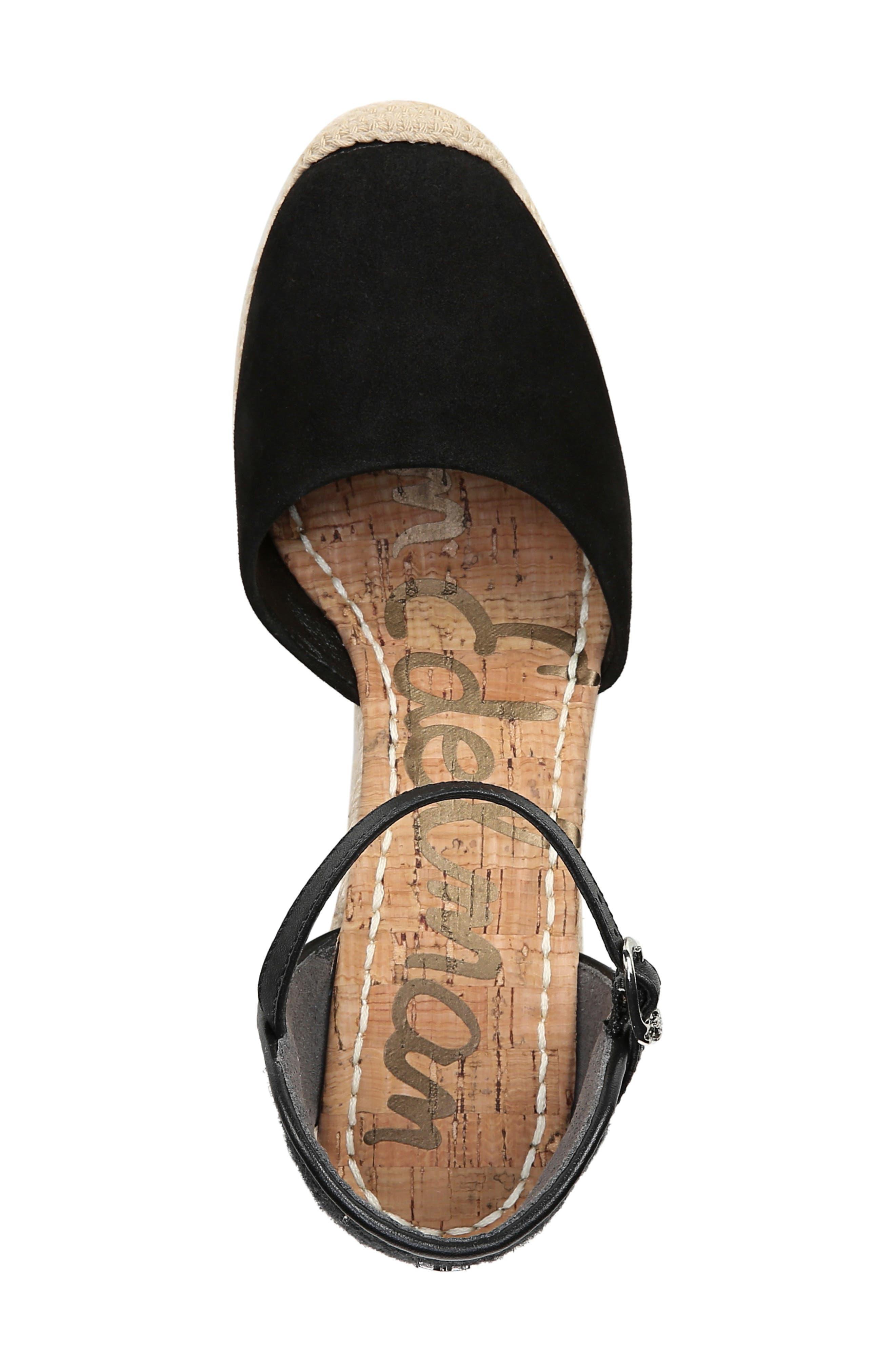 SAM EDELMAN,                             Payton Wedge Sandal,                             Alternate thumbnail 5, color,                             BLACK