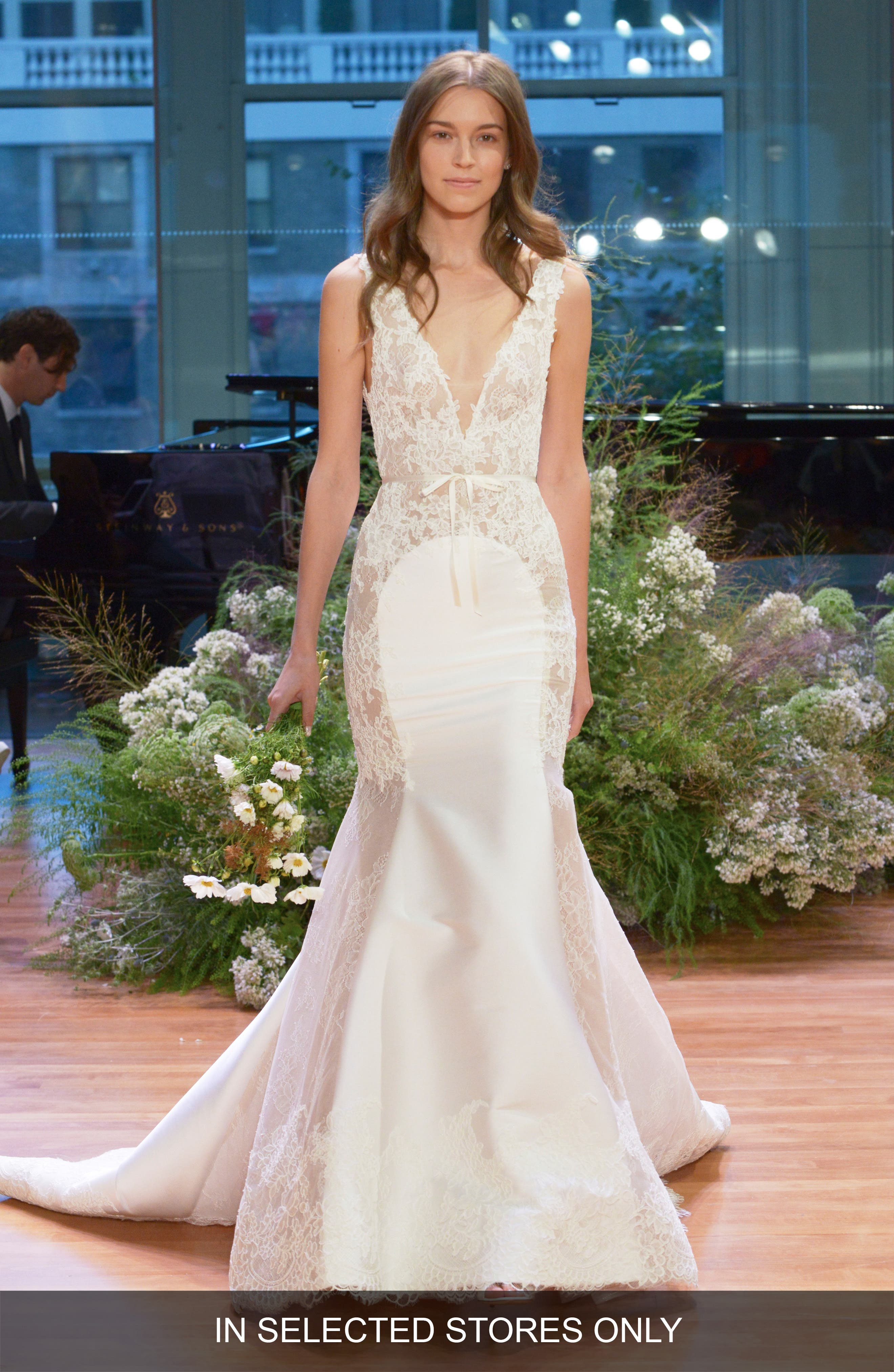Lace & Satin Mermaid Gown,                         Main,                         color,