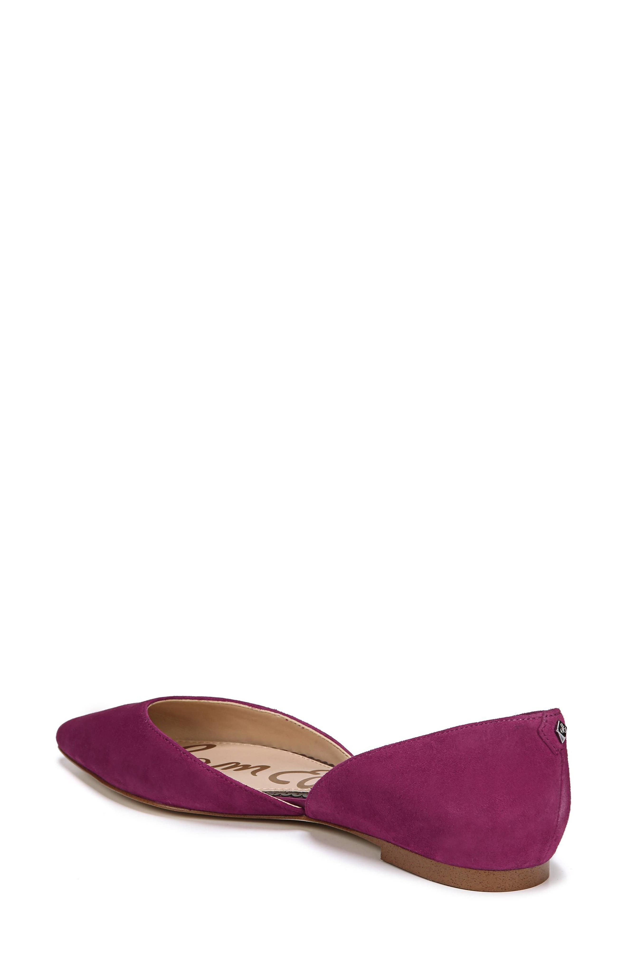 Rodney Pointy Toe d'Orsay Flat,                             Alternate thumbnail 2, color,                             PURPLE PLUM SUEDE