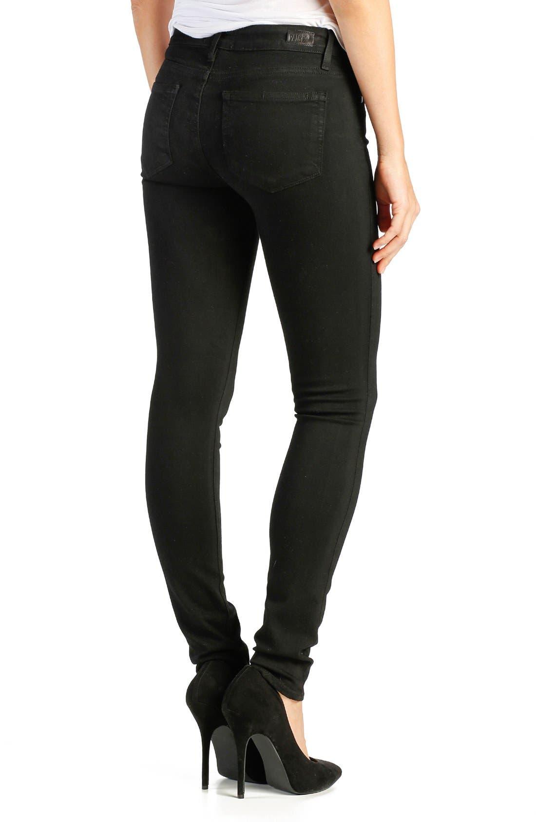 PAIGE,                             Transcend -Leggy Ultra Skinny Jeans,                             Alternate thumbnail 2, color,                             BLACK SHADOW