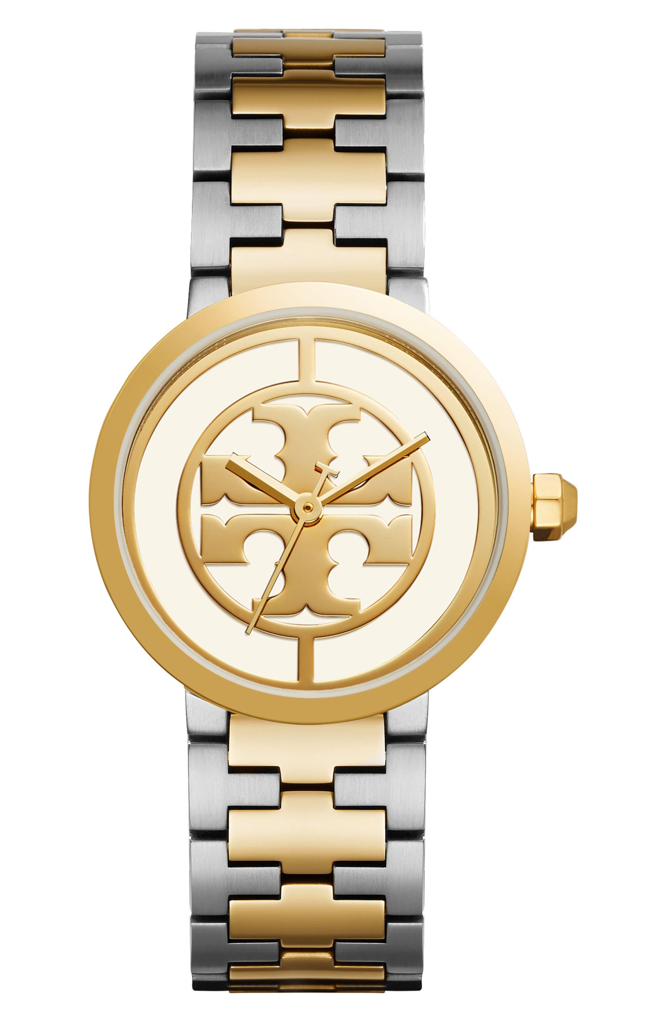 Reva Logo Dial Bracelet Watch, 36mm,                             Main thumbnail 1, color,                             SILVER/ IVORY/ GOLD