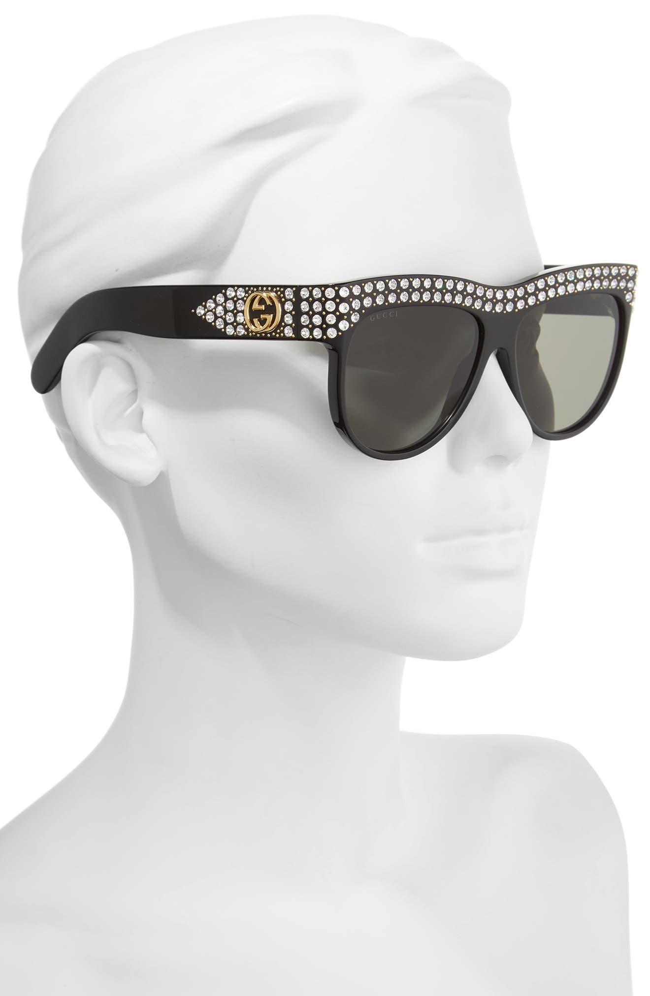 56mm Cat Eye Sunglasses,                             Alternate thumbnail 2, color,                             BLACK/ GREY