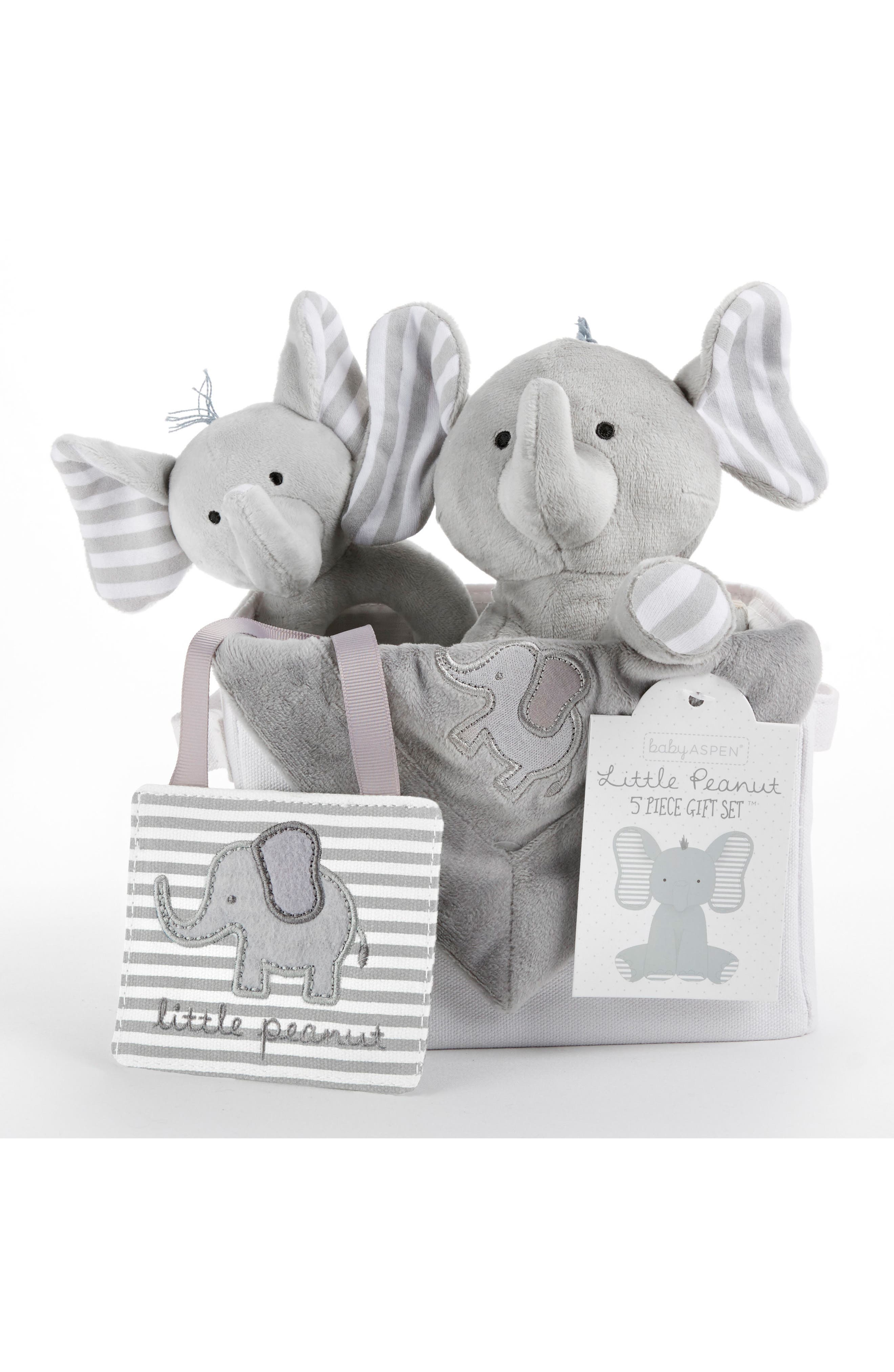 Little Peanut Elephant 5-Piece Gift Set,                             Main thumbnail 1, color,                             GREY AND WHITE