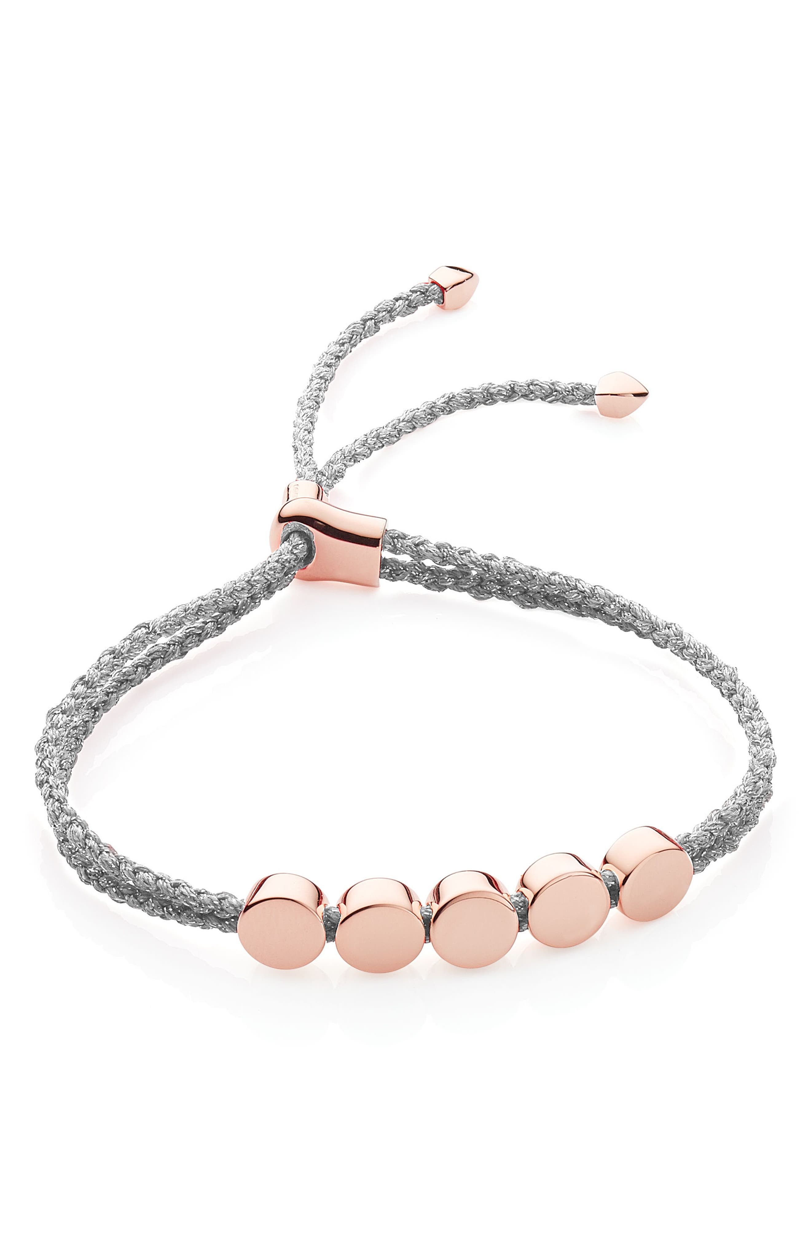 Engravable Linear Bead Friendship Bracelet,                         Main,                         color, ROSE GOLD/ SILVER METALLIC