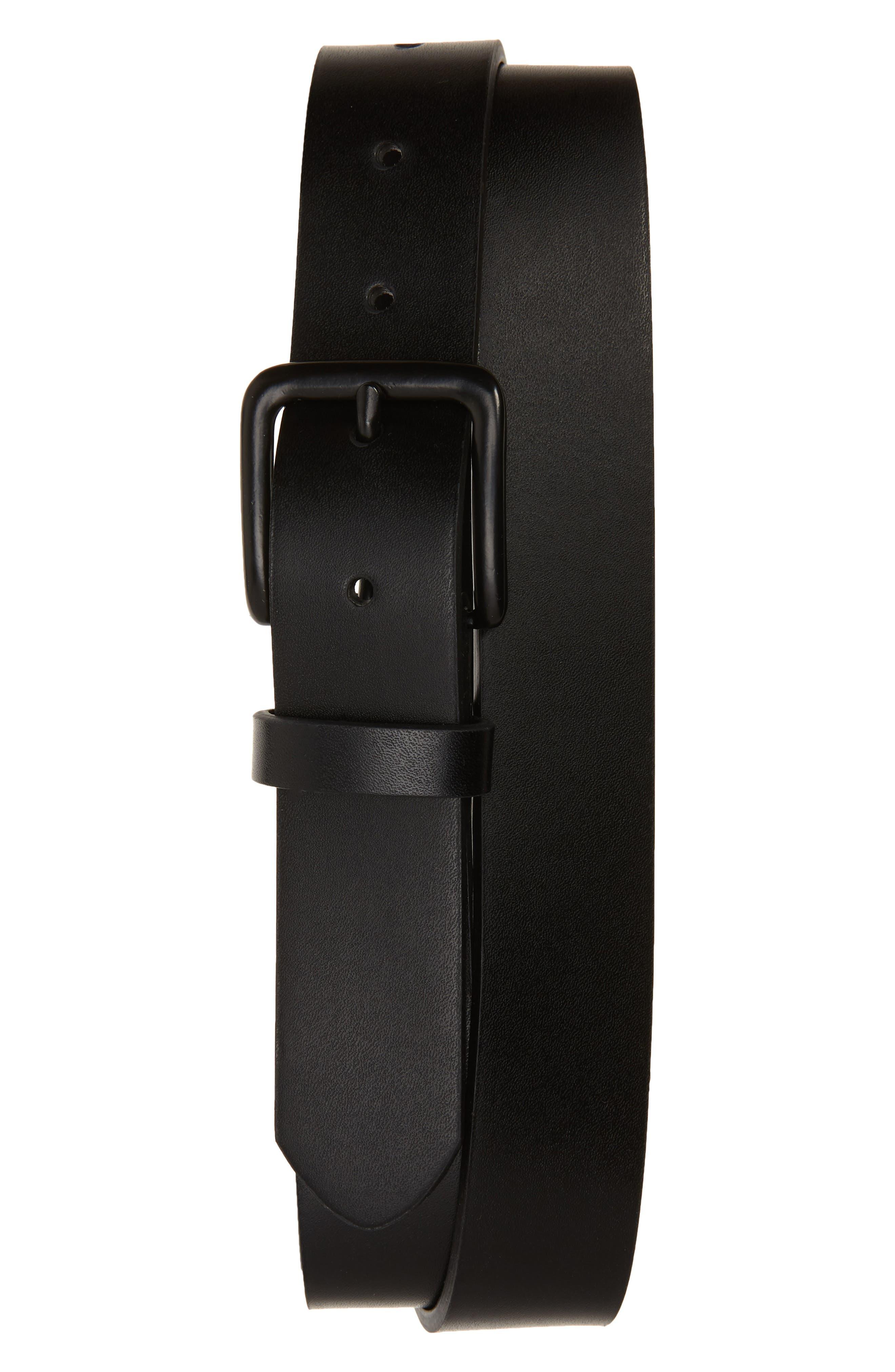 Monochrome Leather Belt, Main, color, BLACK