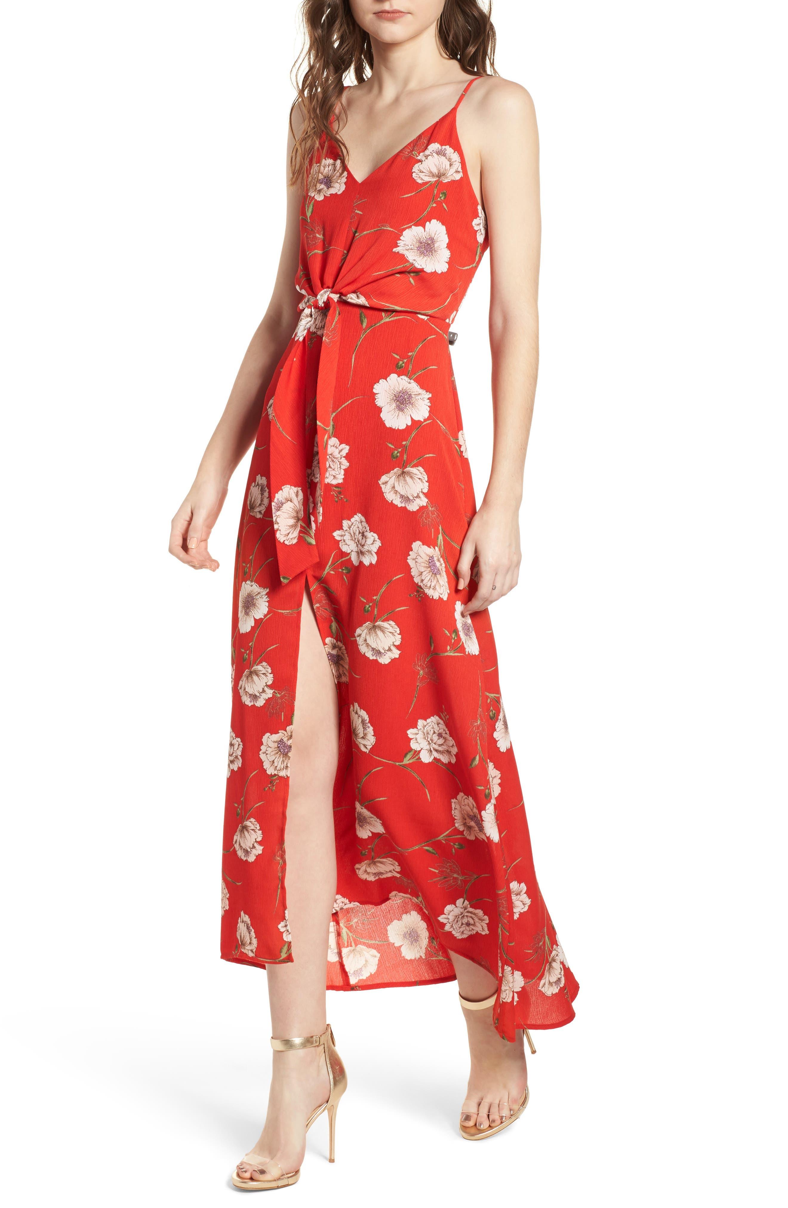Floral Print Maxi Dress,                         Main,                         color, 600