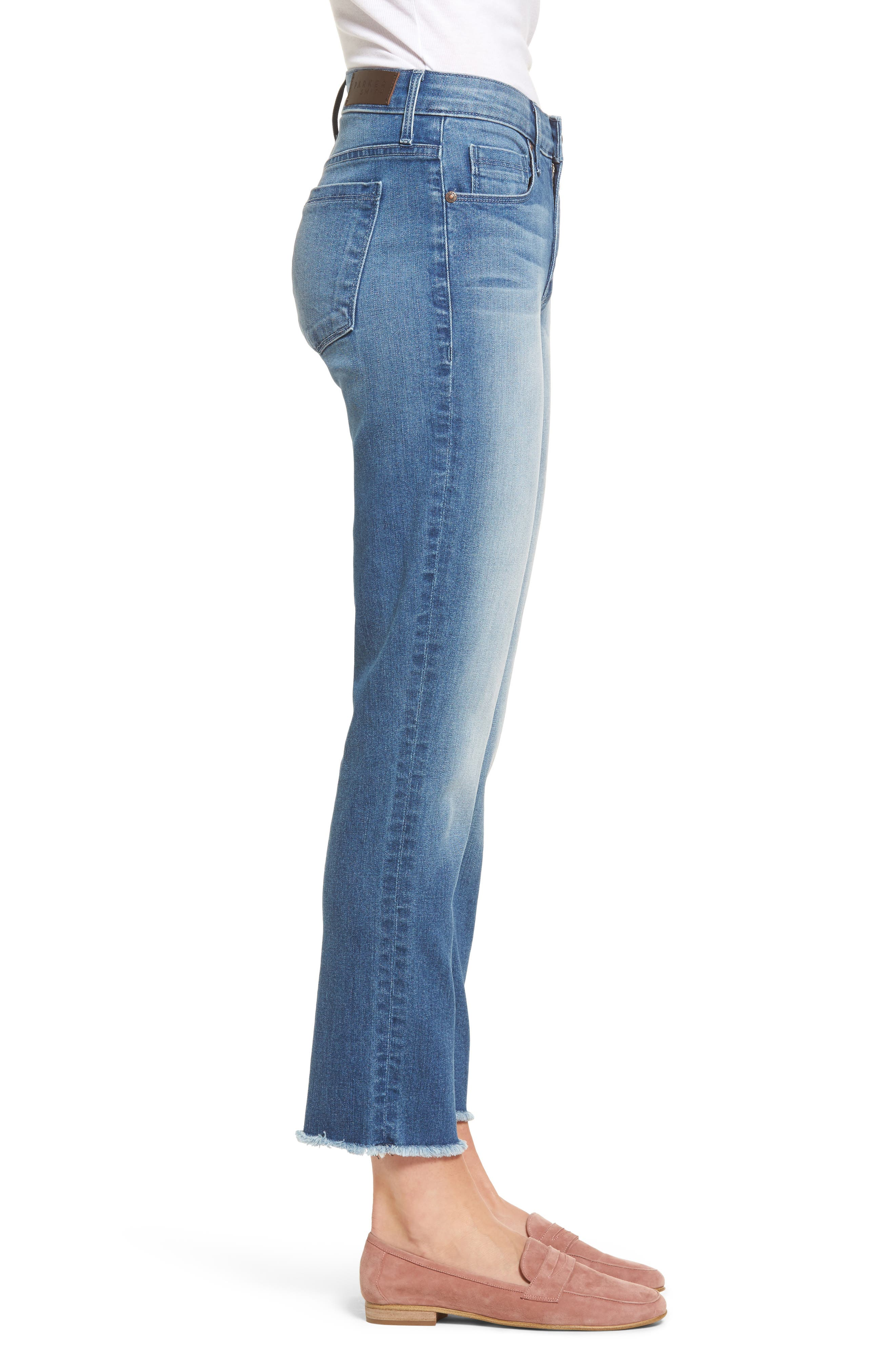 Raw Edge Ankle Straight Jeans,                             Alternate thumbnail 3, color,                             402