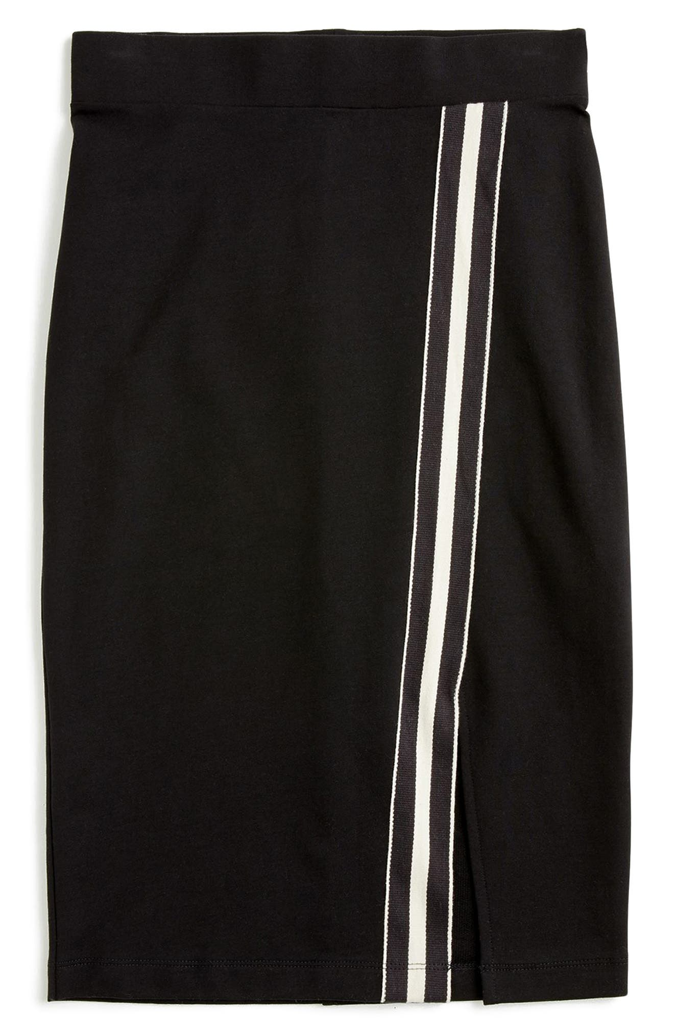 for J.Crew Track Stripe Slit French Terry Skirt,                             Alternate thumbnail 6, color,                             008