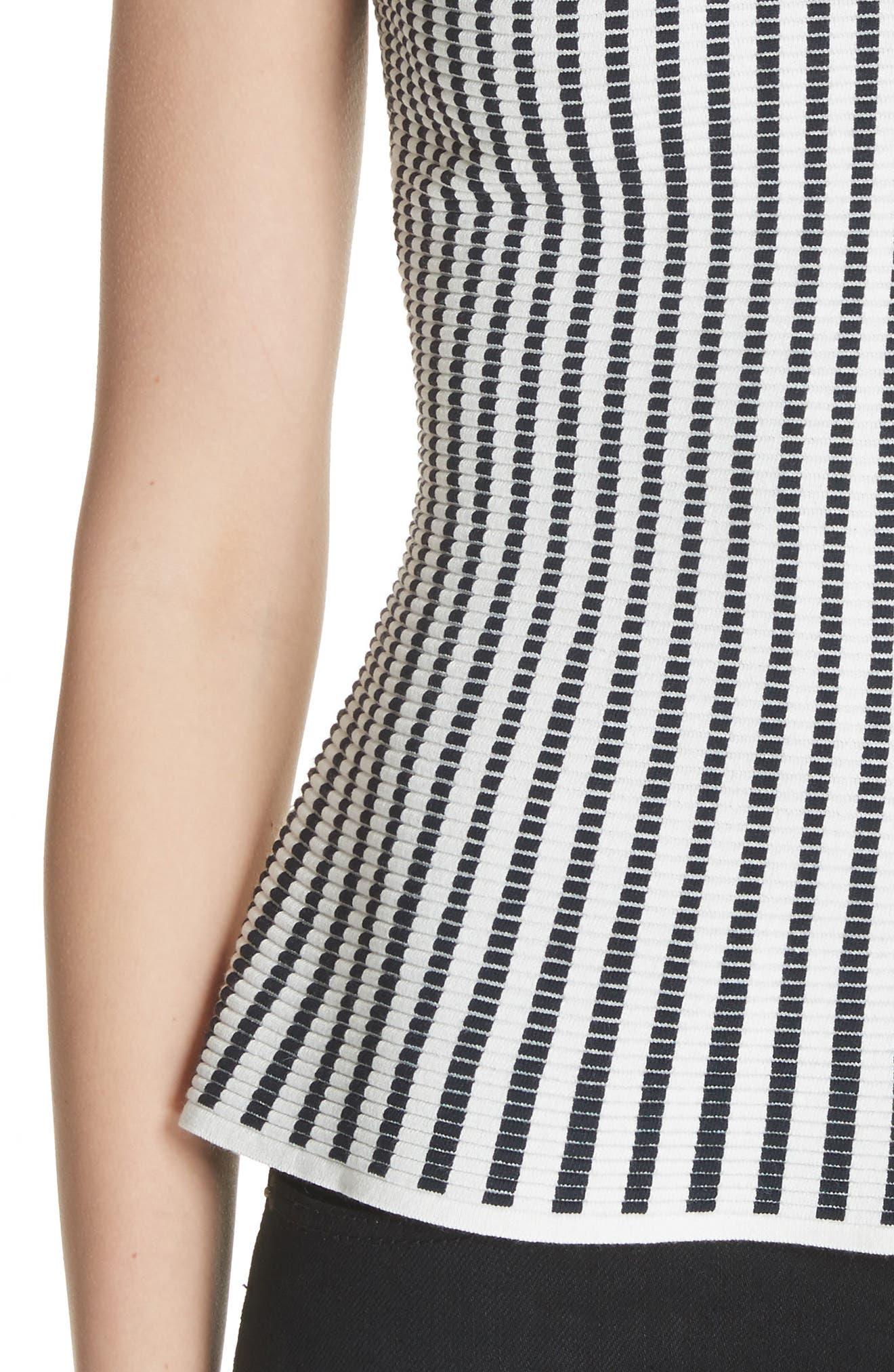 Textured Knit Shell,                             Alternate thumbnail 4, color,                             EGGSHELL/ DEEP NAVY
