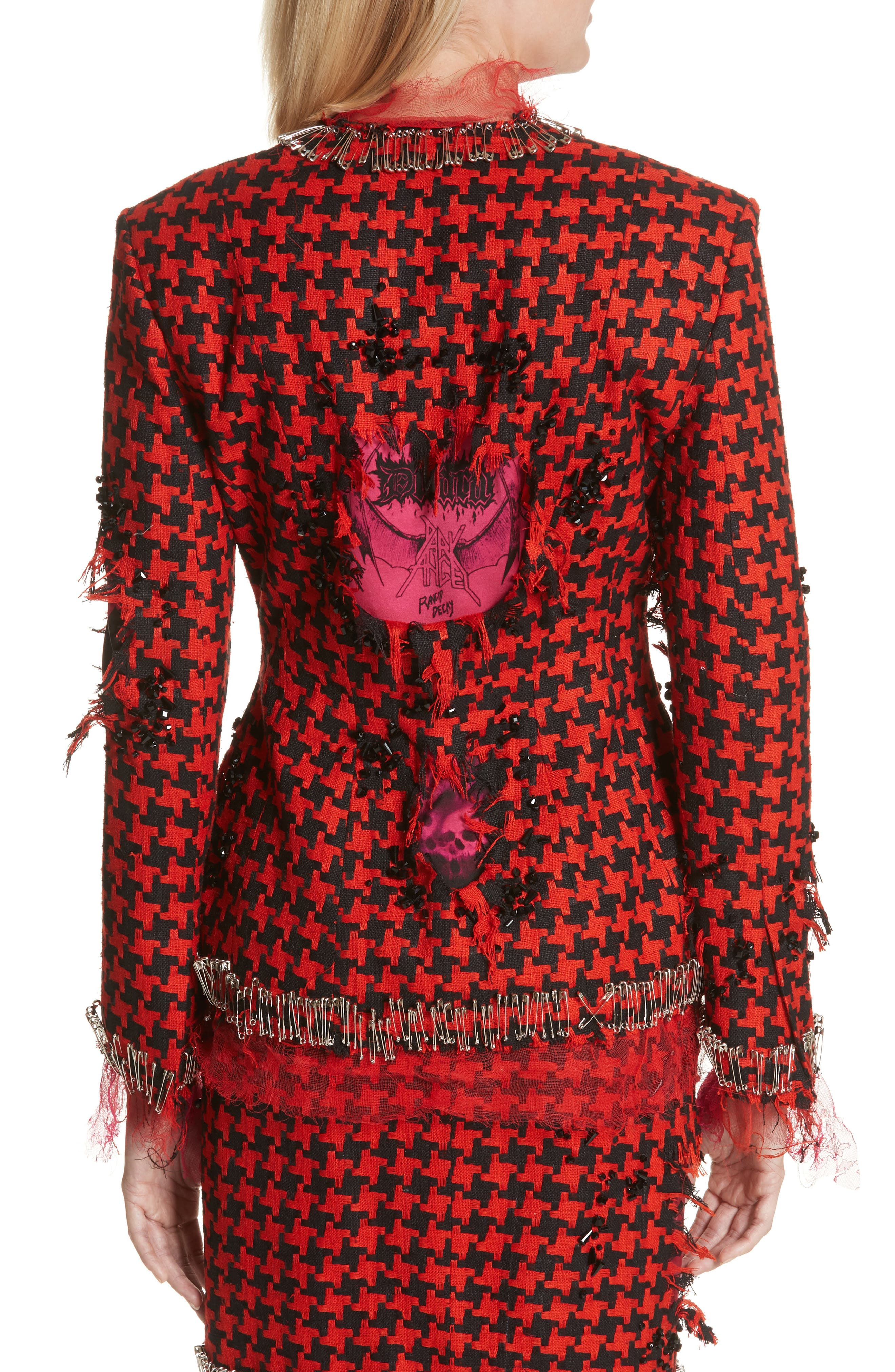 Prime Minister Houndstooth Wool Jacket,                             Alternate thumbnail 2, color,