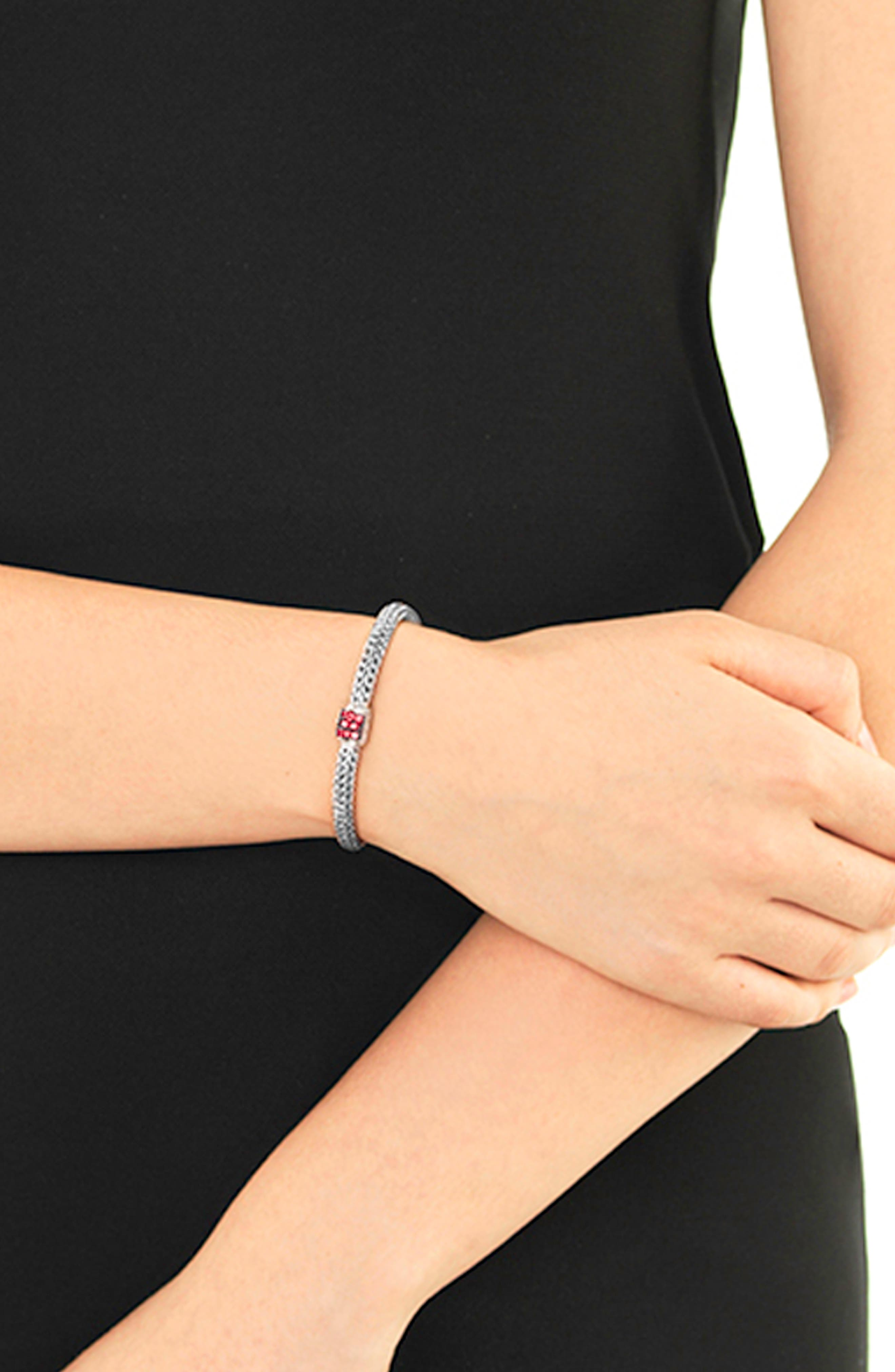 Extra Small Classic Chain Bracelet with Red Sapphire,                             Alternate thumbnail 2, color,                             SILVER/ RED SAPPHIRE