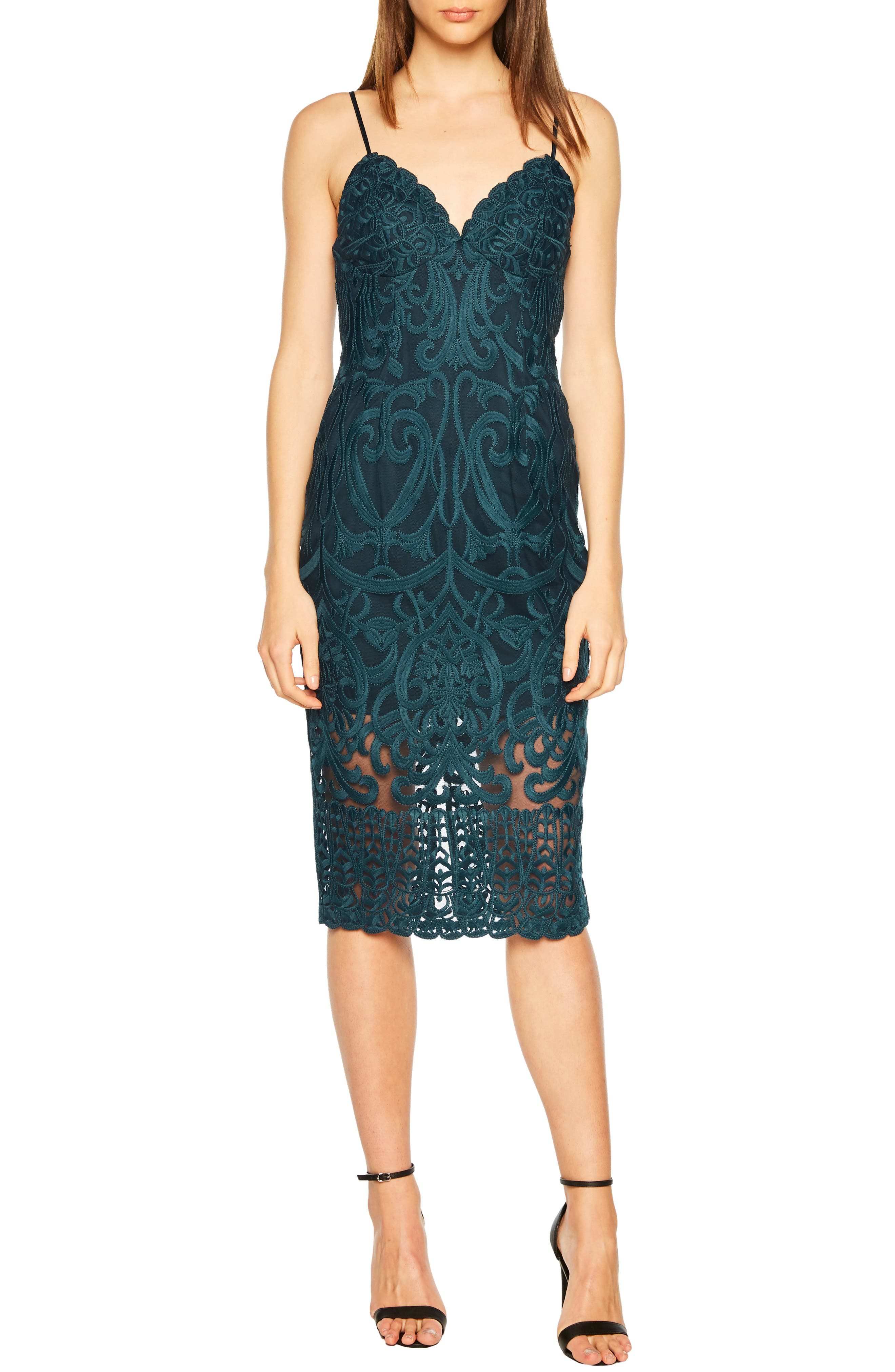 Bardot Gia Lace Pencil Dress, Blue