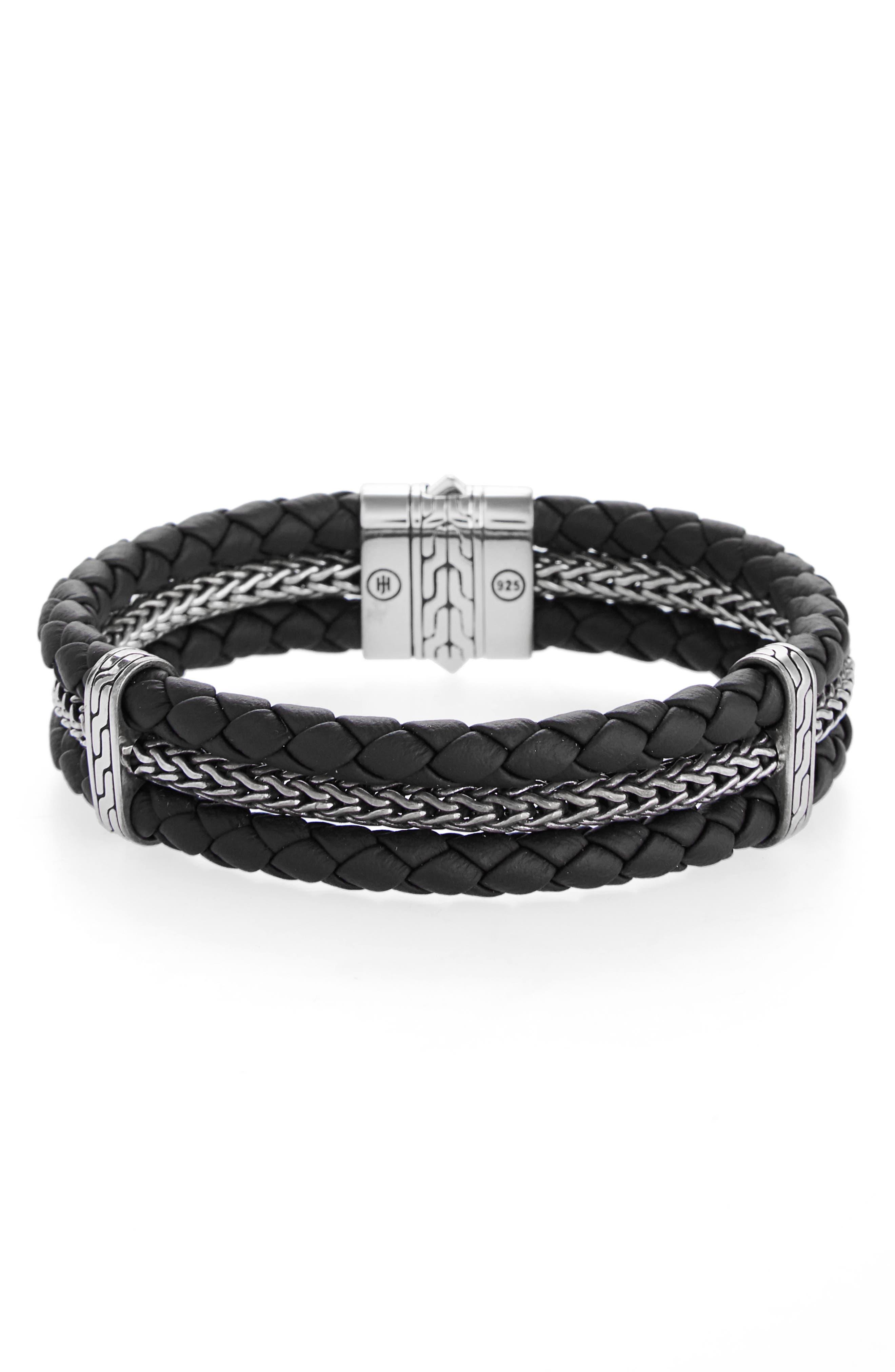 Classic Chain Triple Row Bracelet,                         Main,                         color, BLACK/ SILVER