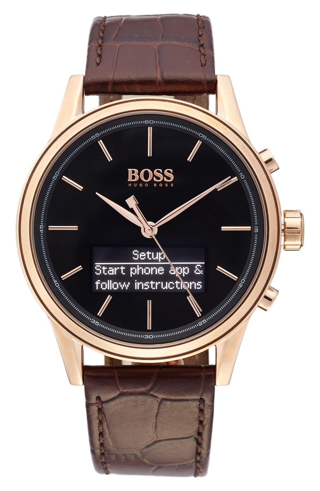 BOSS Classic Leather Strap Smart Watch, 44mm,                         Main,                         color,