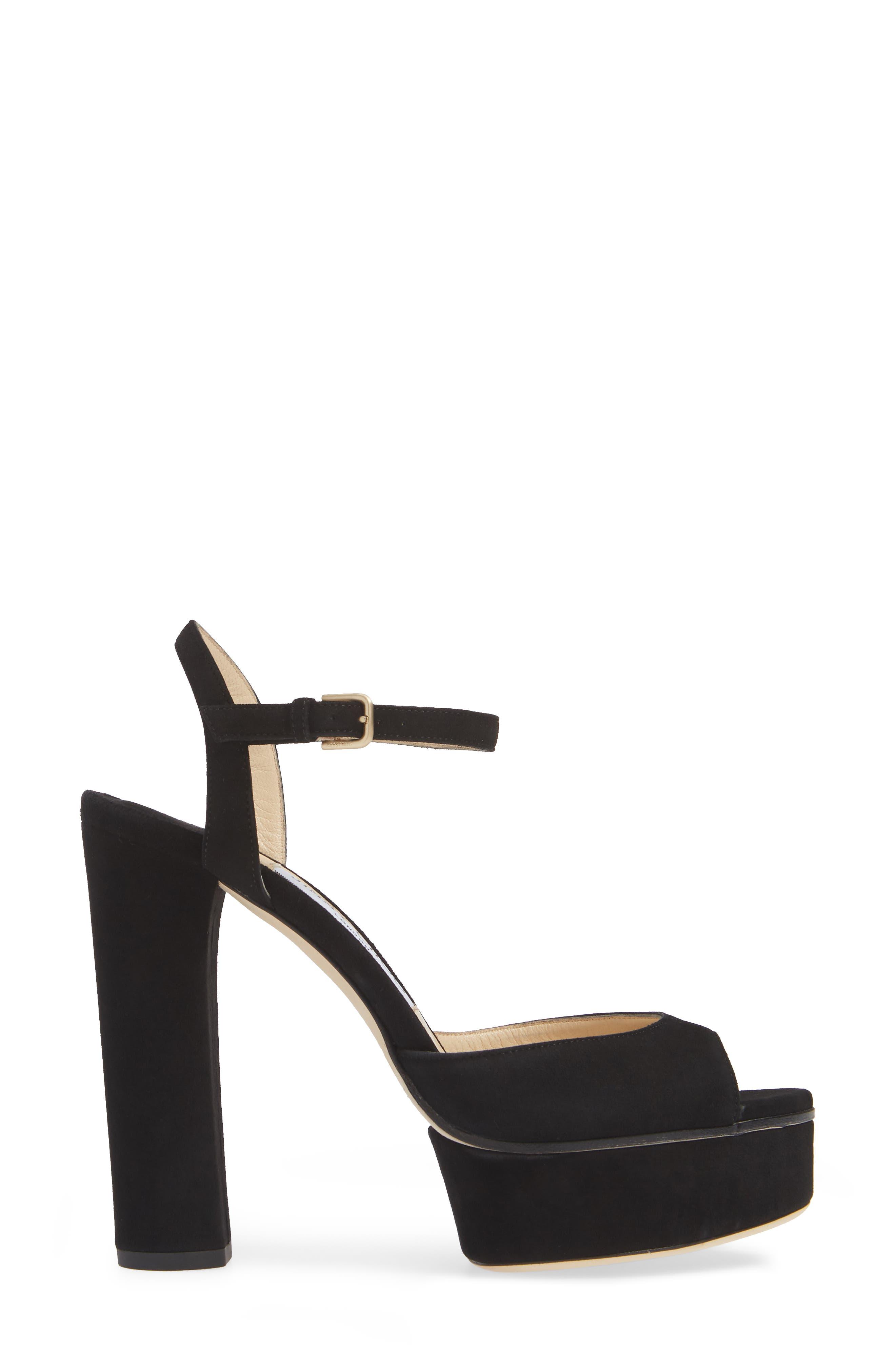 Peachy Platform Sandal,                             Alternate thumbnail 3, color,                             BLACK SUEDE