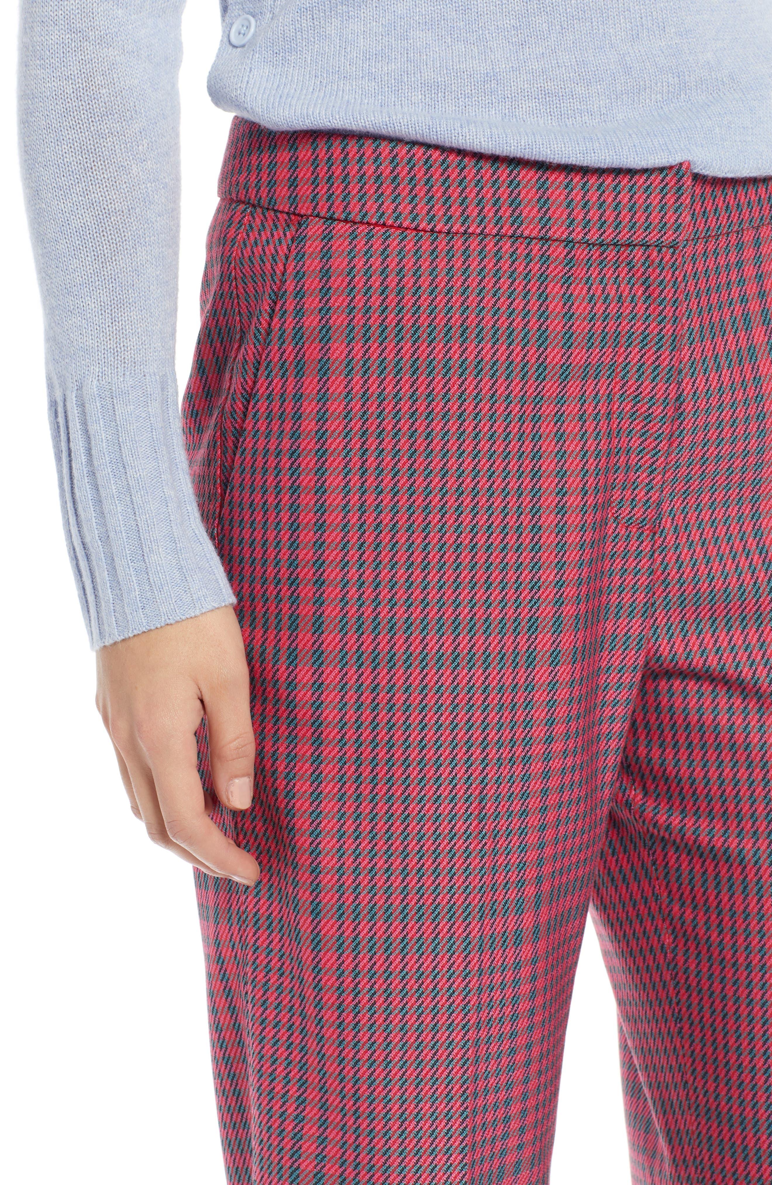 1901,                             Straight Leg Plaid Pants,                             Alternate thumbnail 4, color,                             PINK SIMONE PLAID